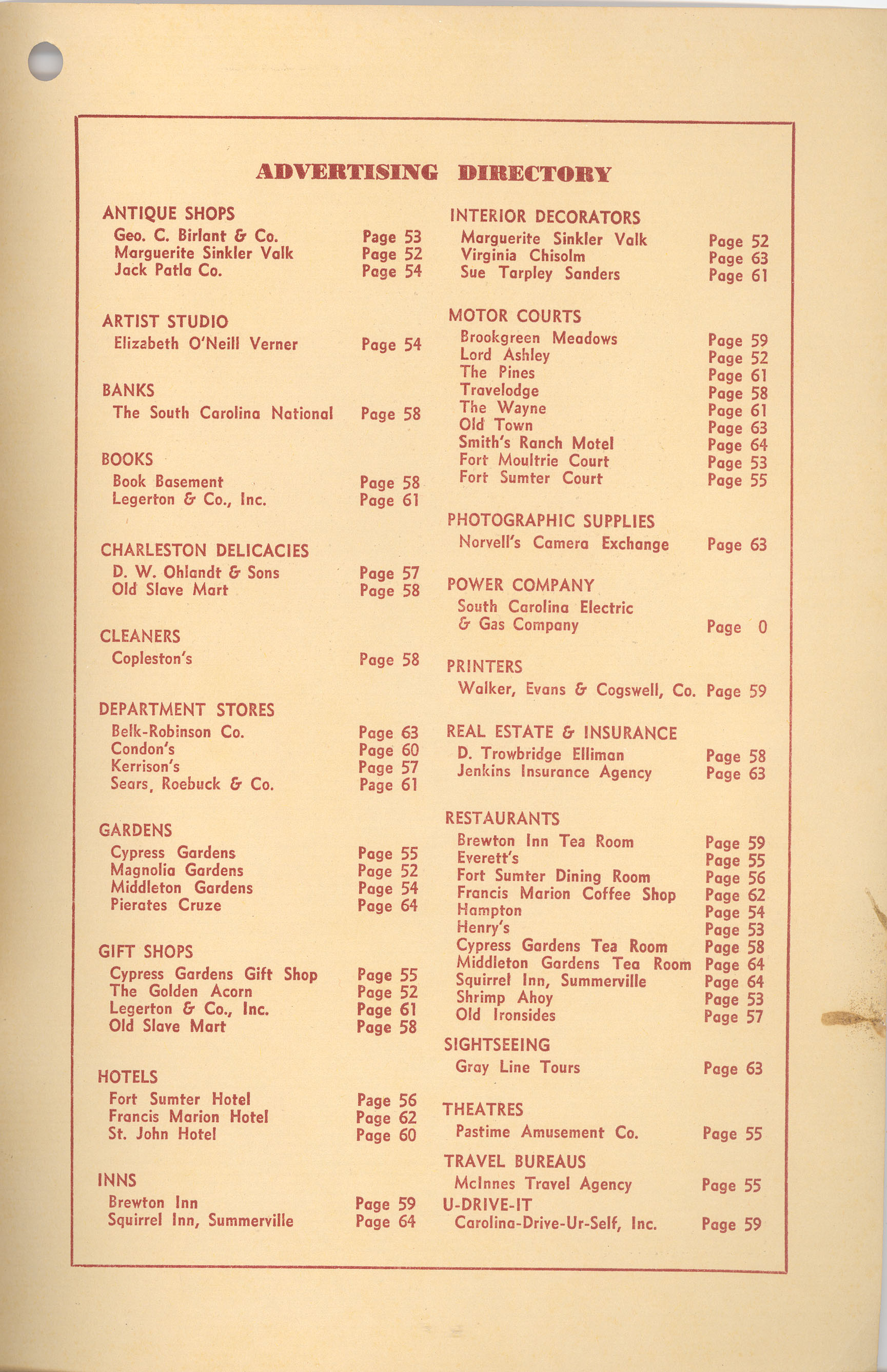 Back Cover-Verso:  Advertising Directory