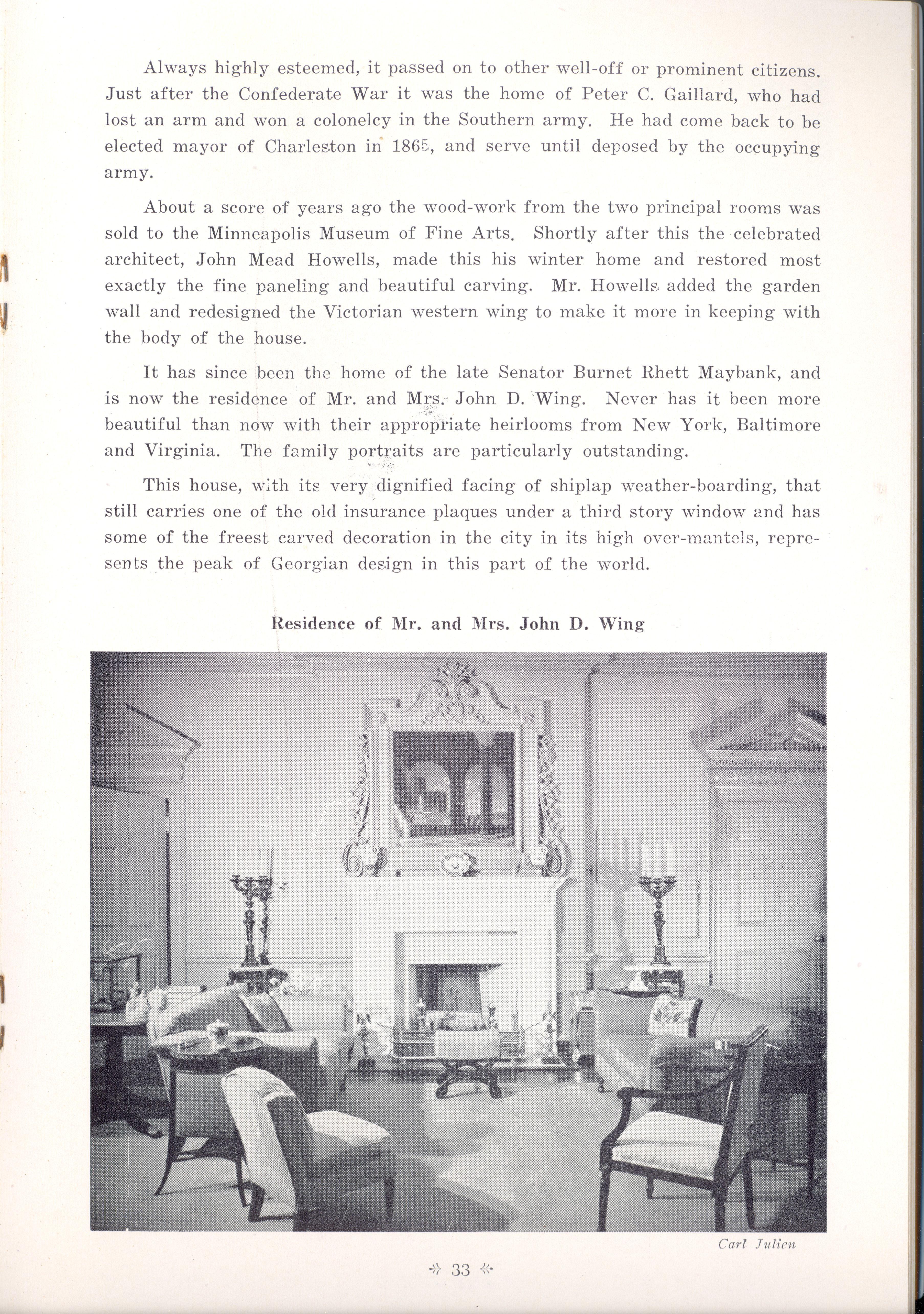 Page 33:  No. 11 - Colonel John Stuart's House, 106 Tradd Street, c. 1772, cont'd