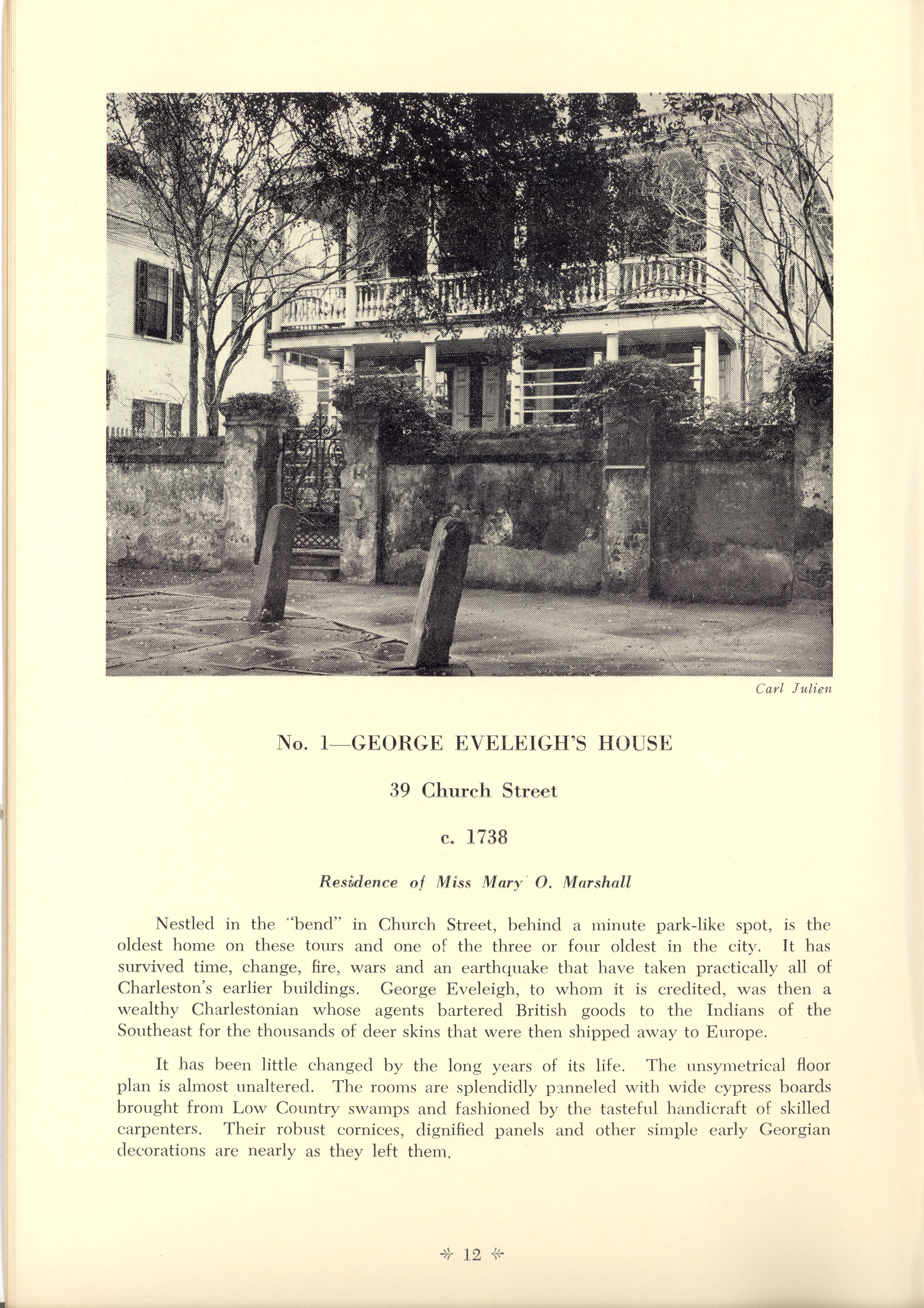 Page 12:  No. 1 - George Eveleigh's House, 39 Church Street, c. 1738