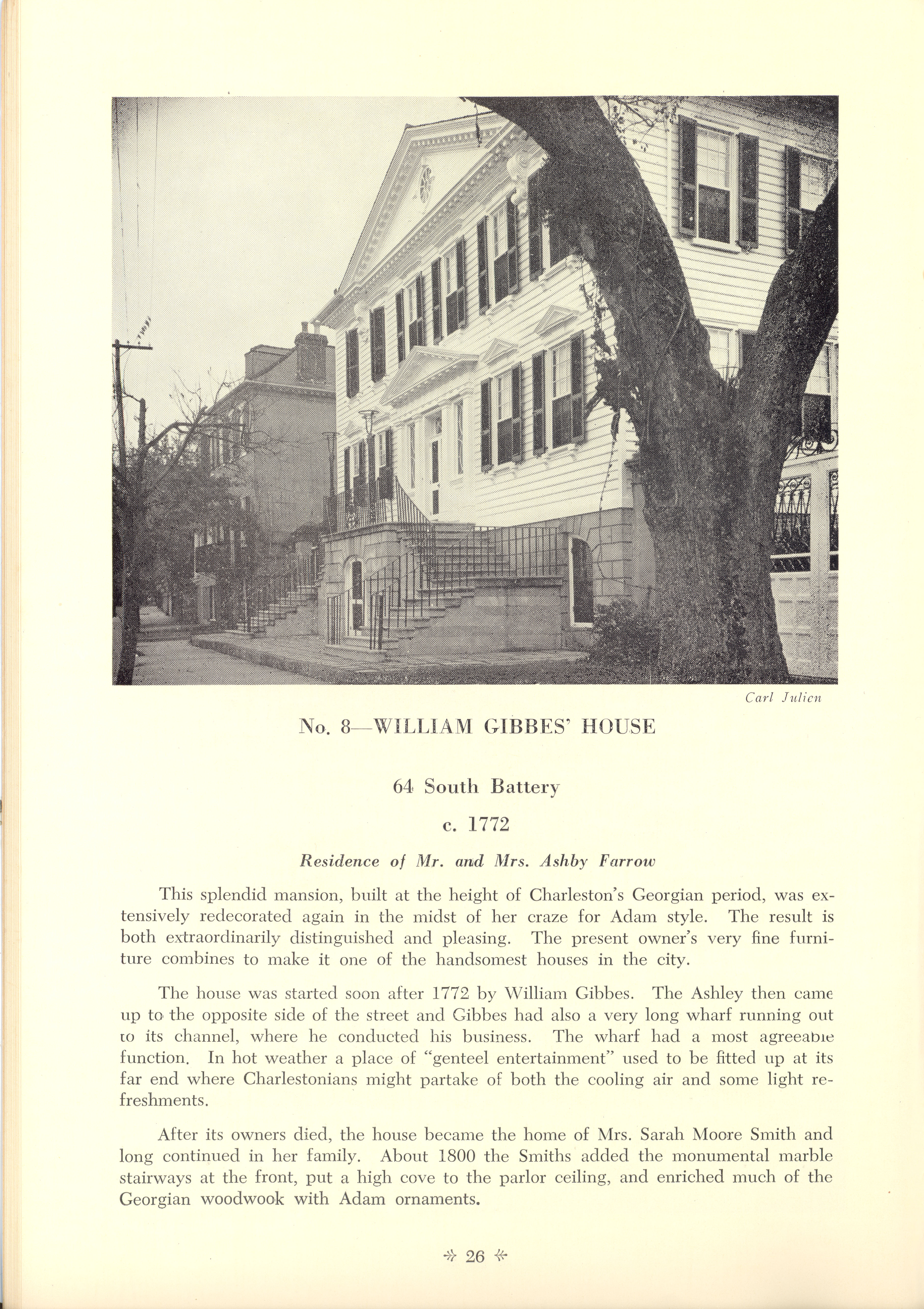 Page 26:  No. 8 - William Gibbes' House, 64 South Battery, c. 1772