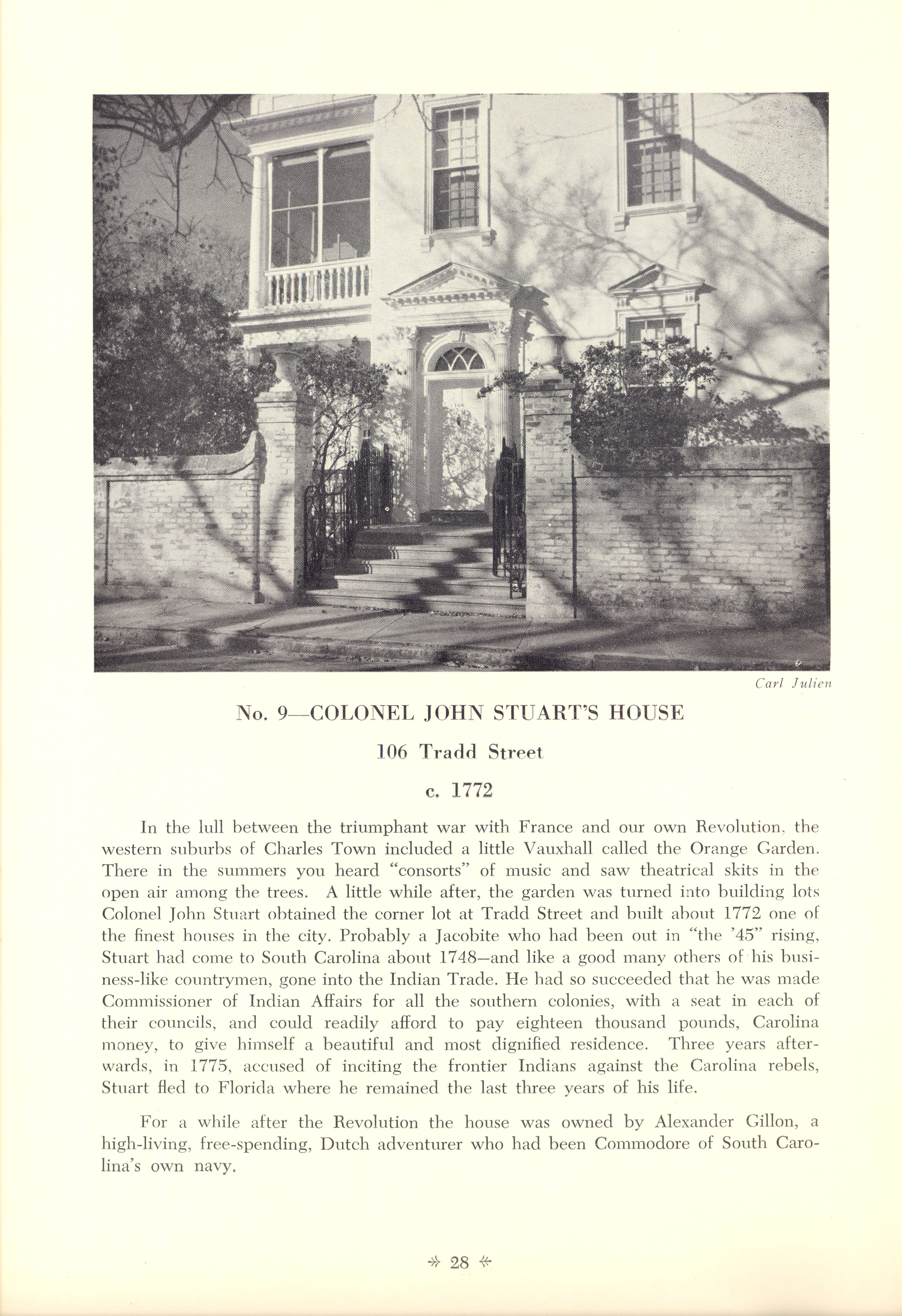 Page 28:  No. 9 - Colonel John Stuart's House, 106 Tradd Street, c. 1772