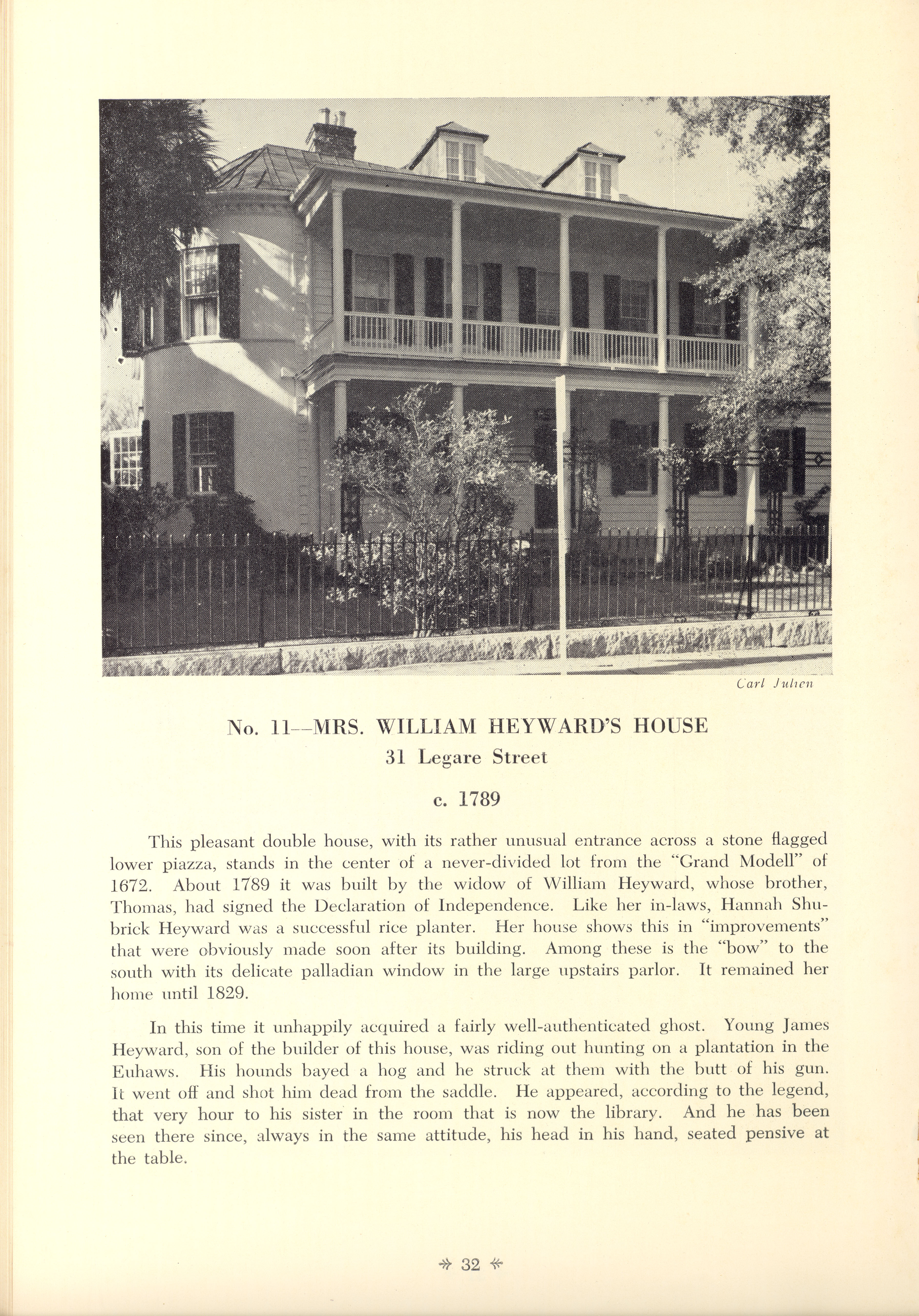 Page 32  No. 11 - Mrs. William Heyward's House, 31 Legare Street, c. 1789