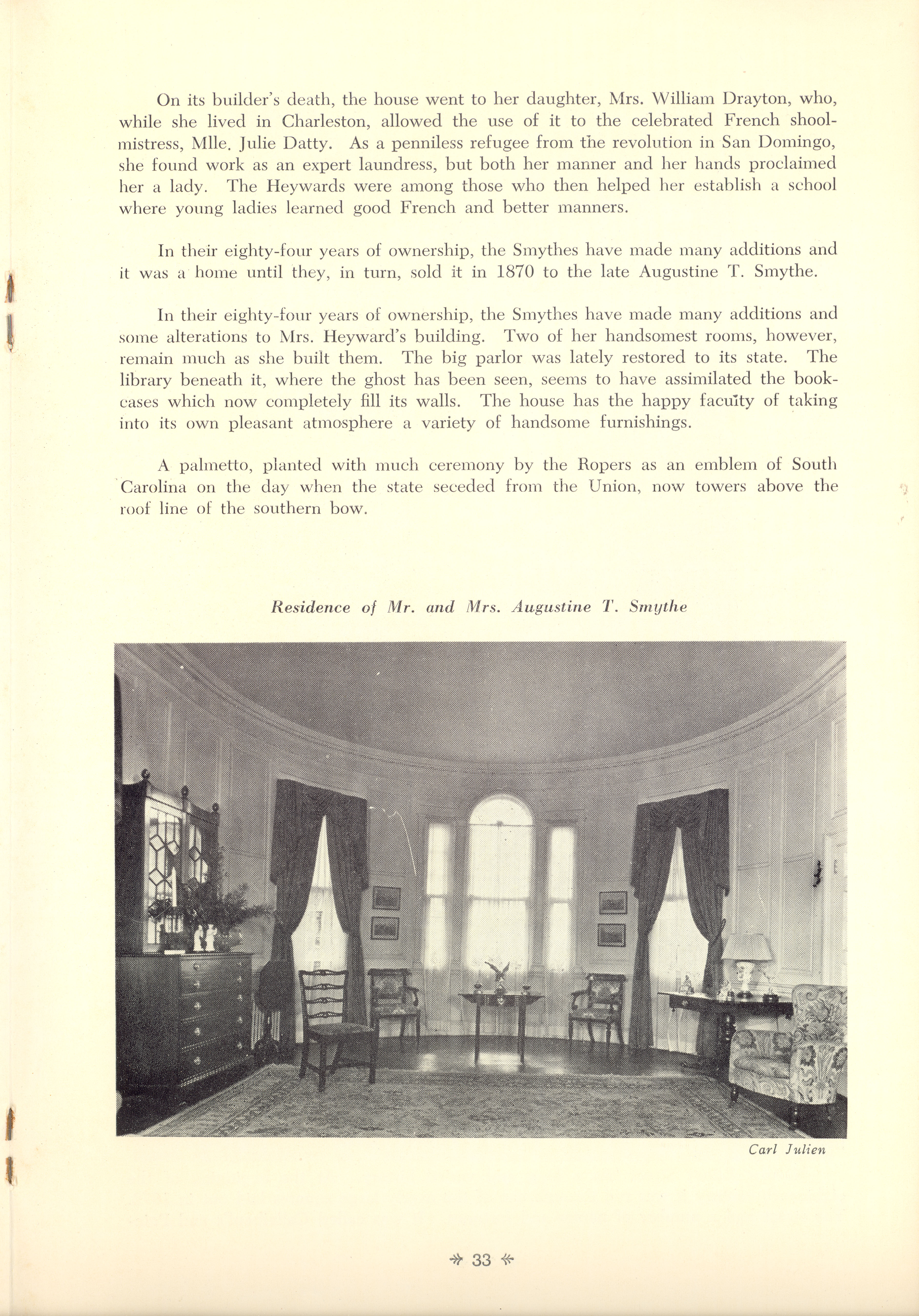 Page 33:  No. 11 - Mrs. William Heyward's House, 31 Legare Street, c. 1789, cont'd