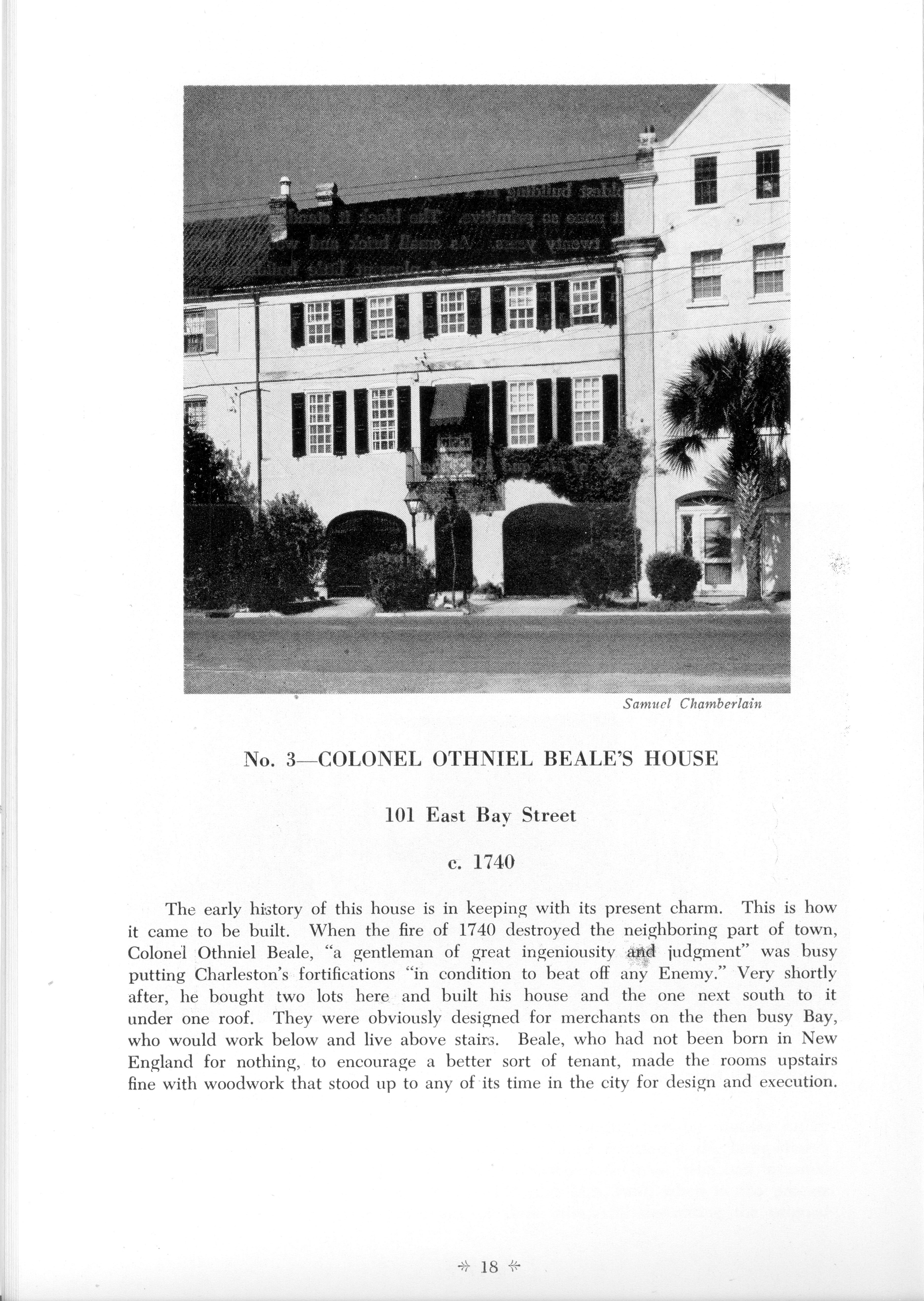 Page 18:  No. 3 - Colonel Othniel Beale's House, 101 East Bay Street, c. 1740