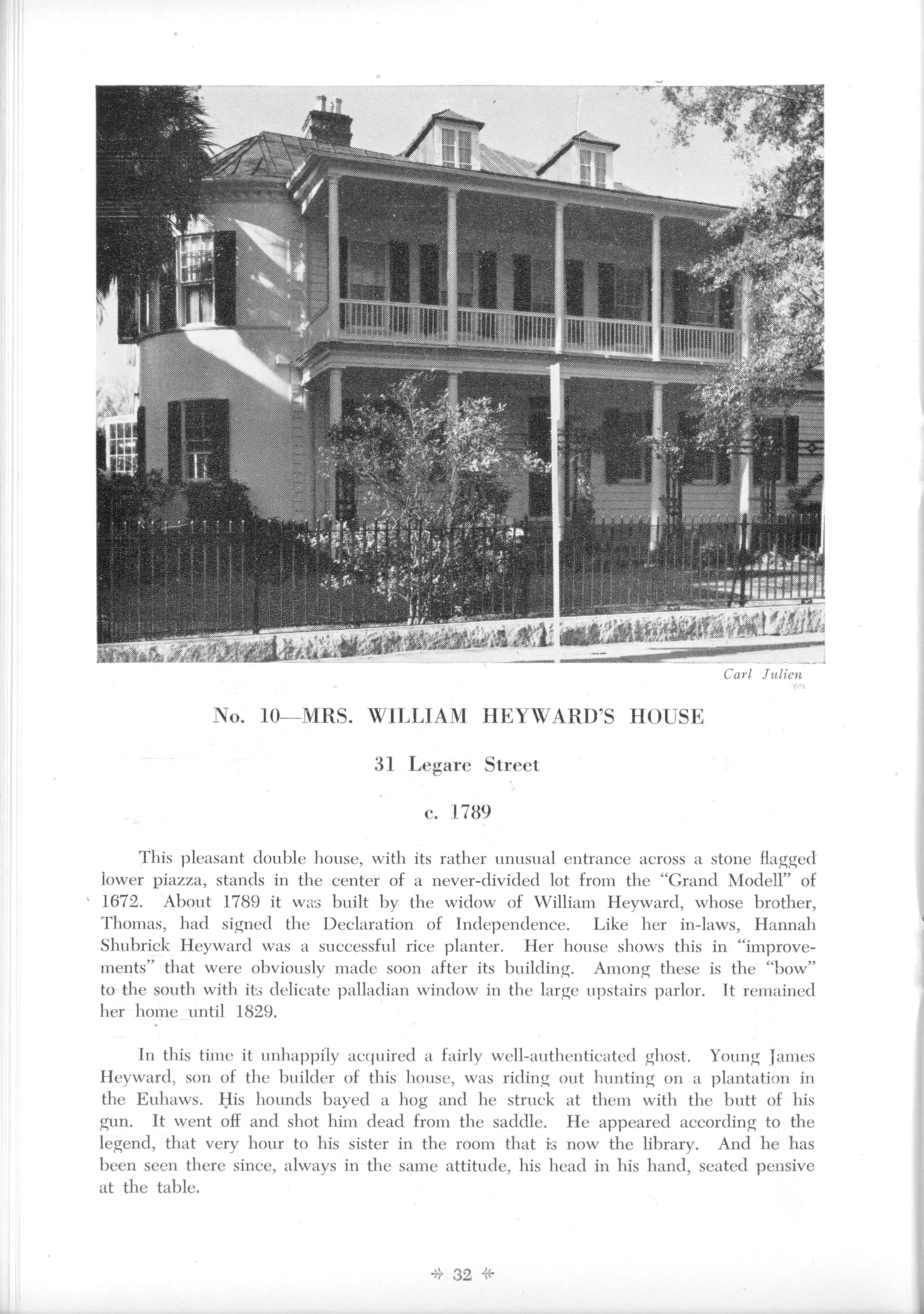 Page 32:  No. 10 - Mrs. William Heyward's House, 31 Legare Street, c. 1789
