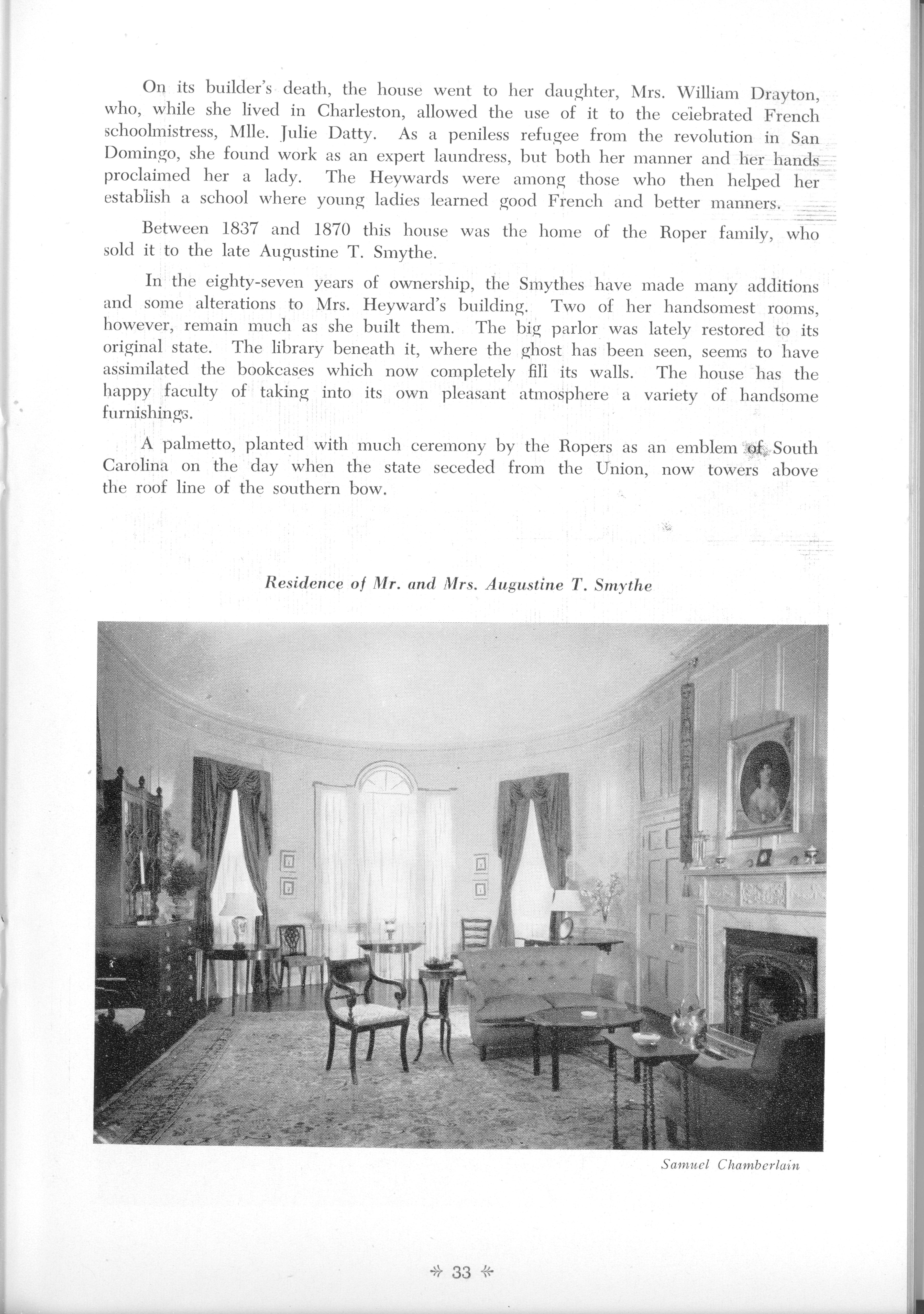 Page 33:  No. 10 - Mrs. William Heyward's House, 31 Legare Street, c. 1789, cont'd