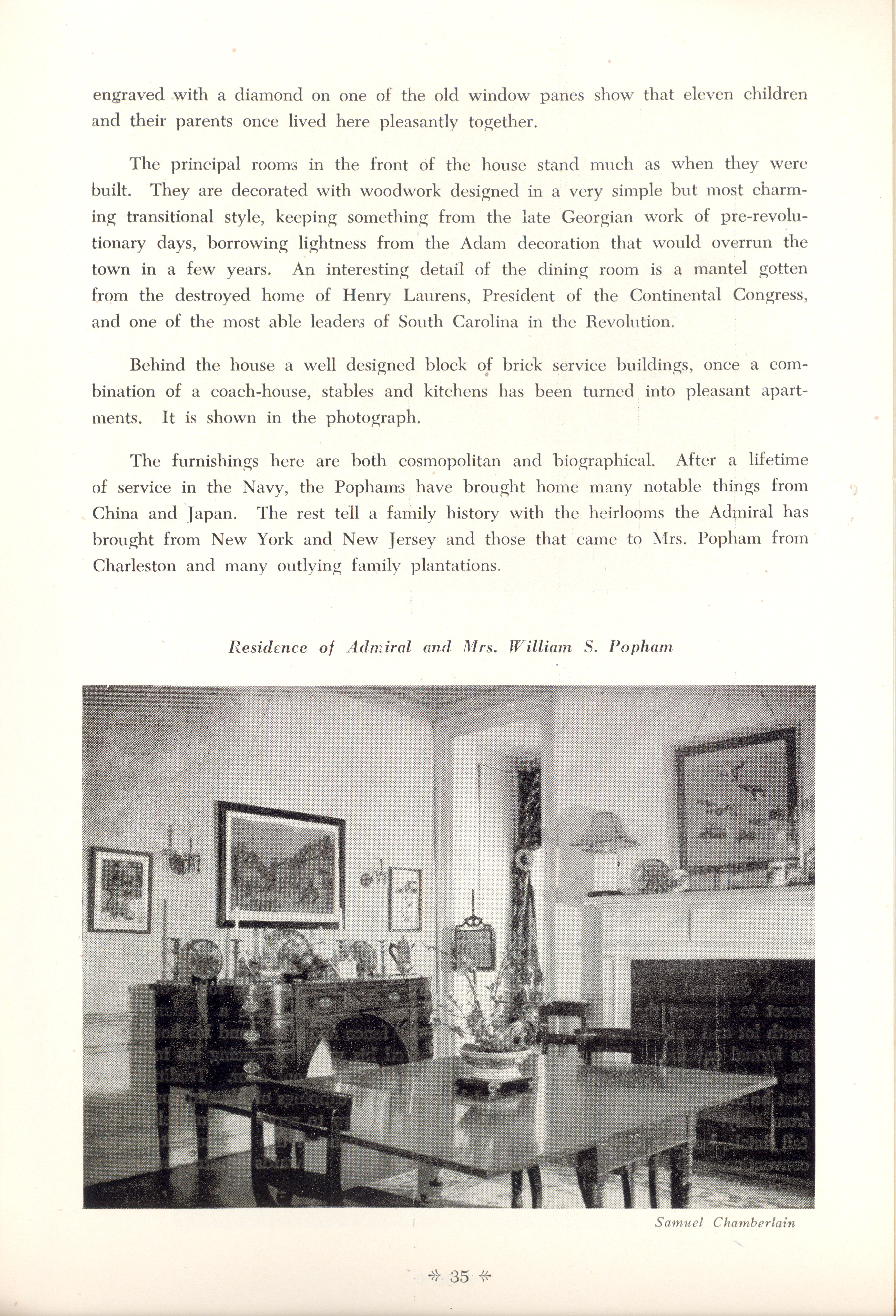 Page 35:  No. 11 - Joseph Winthrop's House, 129 Tradd Street, c. 1797, cont'd