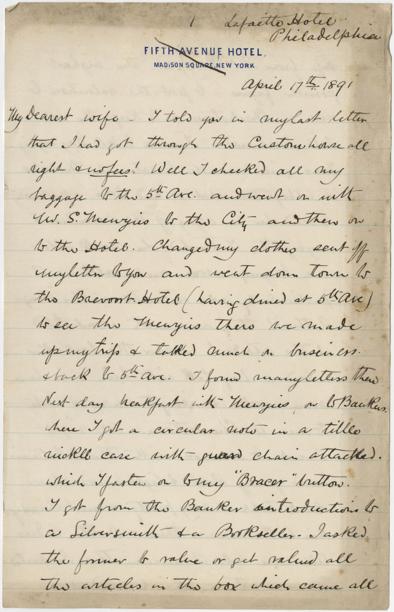 Travel Diary Letters from Theodore Drayton Grimke-Drayton to his wife, 1891, Page 17