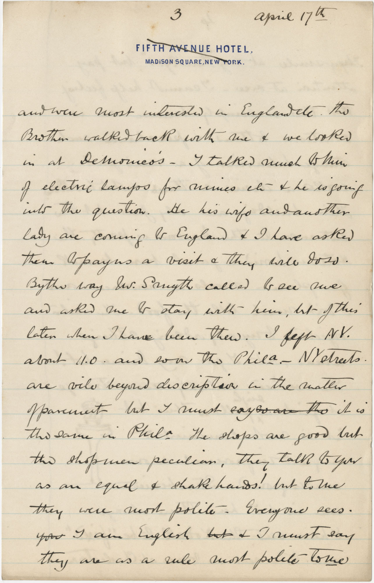 Travel Diary Letters from Theodore Drayton Grimke-Drayton to his wife, 1891, Page 19