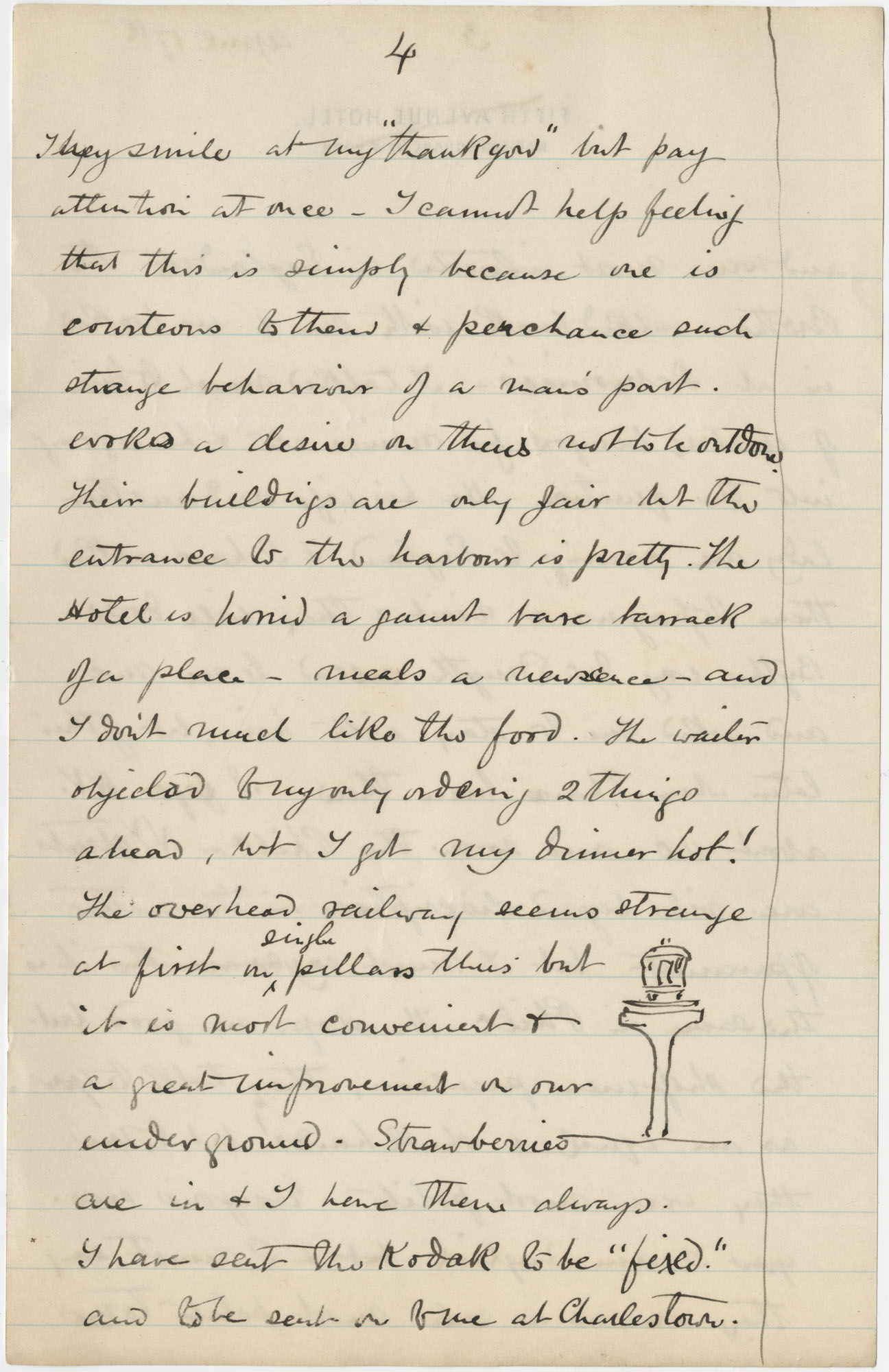 Travel Diary Letters from Theodore Drayton Grimke-Drayton to his wife, 1891, Page 20