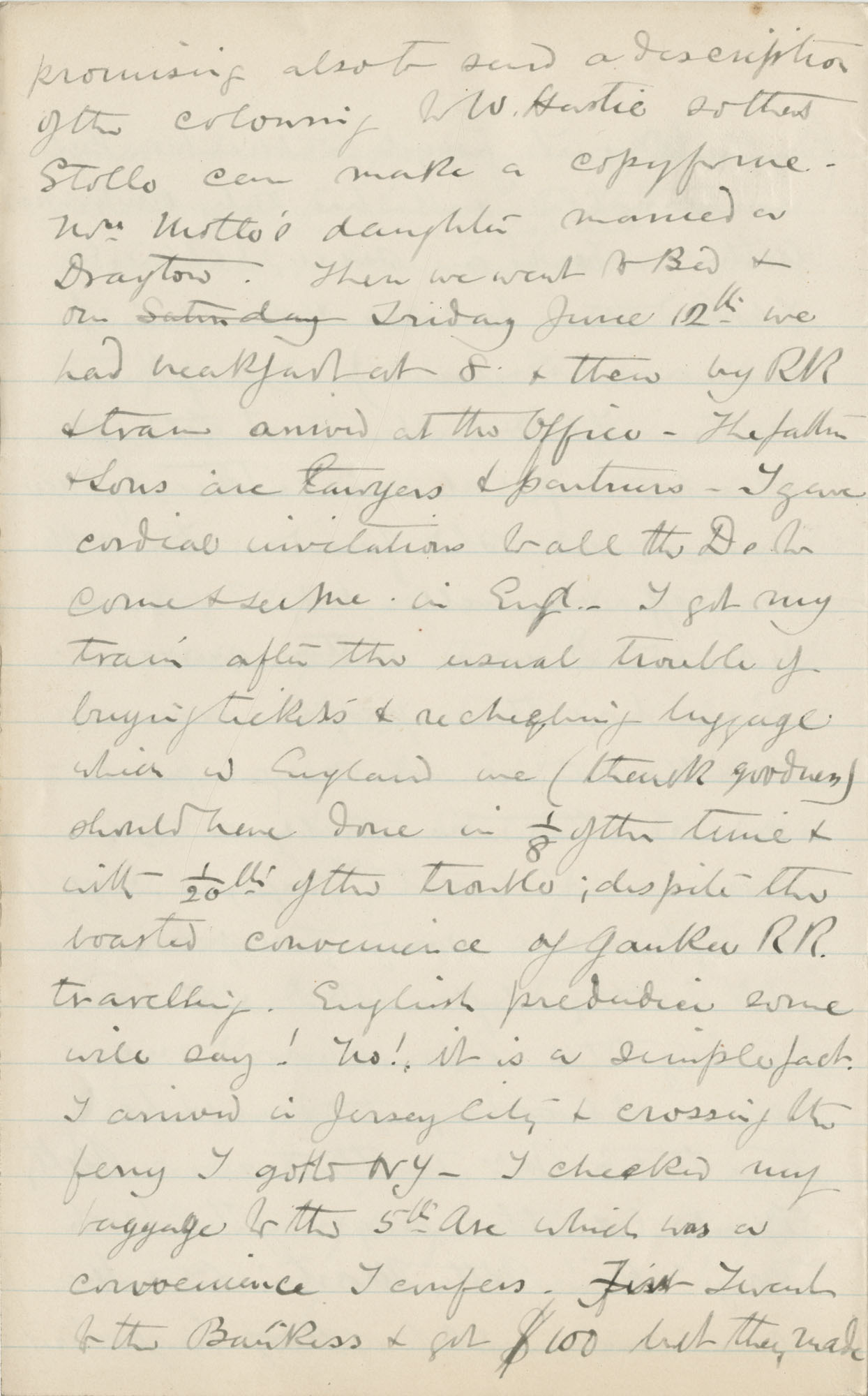 Travel Diary Letters from Theodore Drayton Grimke-Drayton to his wife, 1891, Page 120