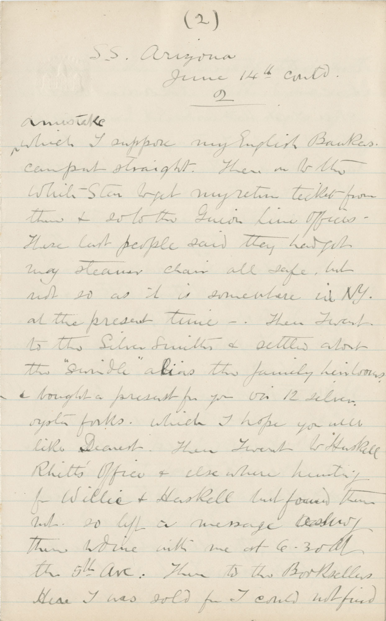 Travel Diary Letters from Theodore Drayton Grimke-Drayton to his wife, 1891, Page 121