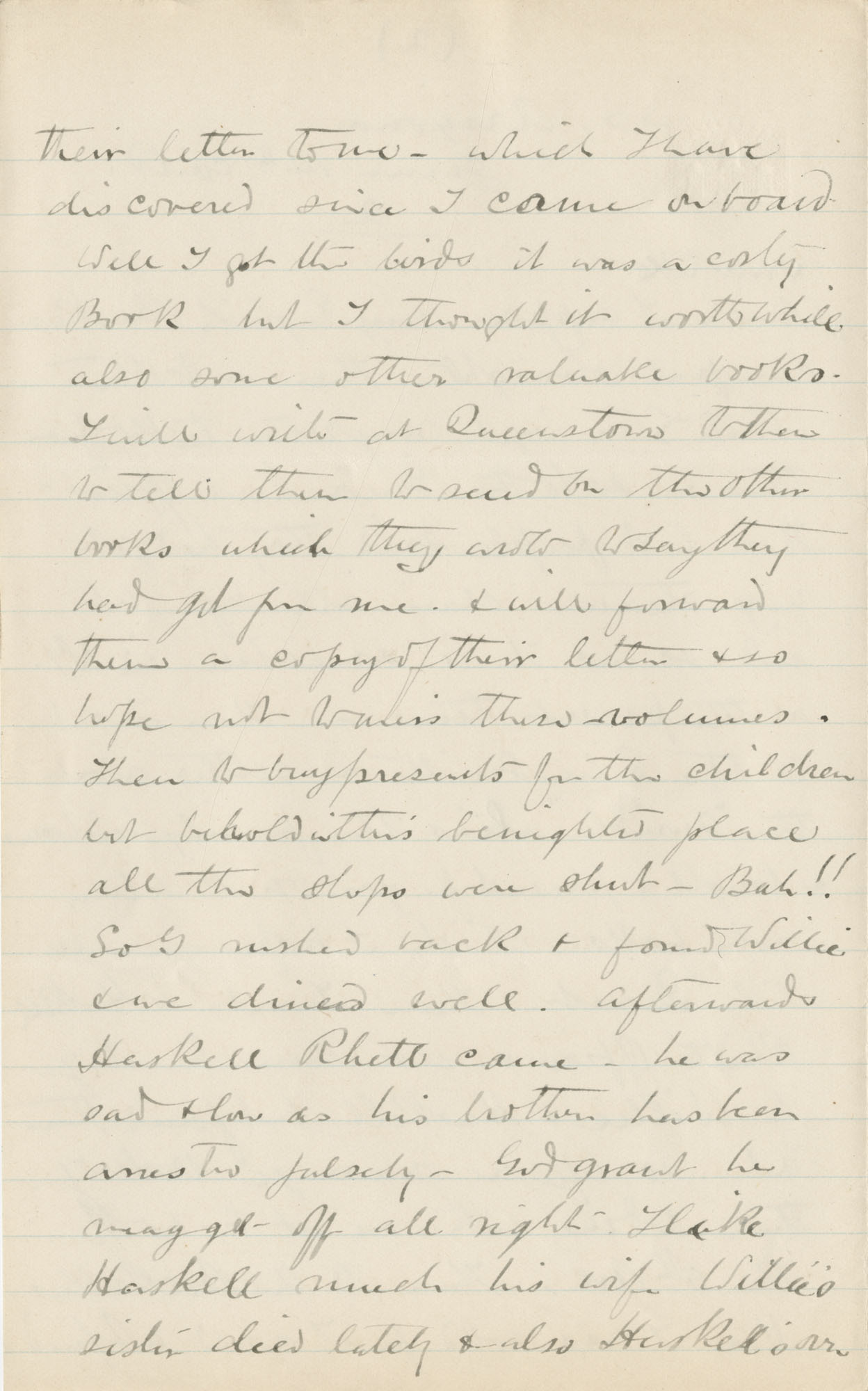 Travel Diary Letters from Theodore Drayton Grimke-Drayton to his wife, 1891, Page 122