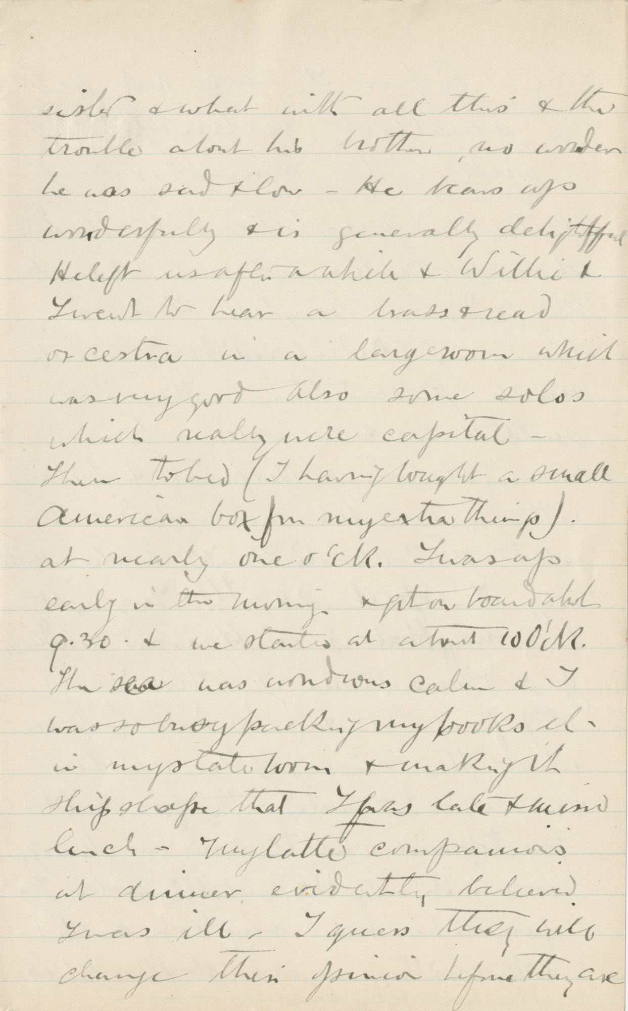 Travel Diary Letters from Theodore Drayton Grimke-Drayton to his wife, 1891, Page 123