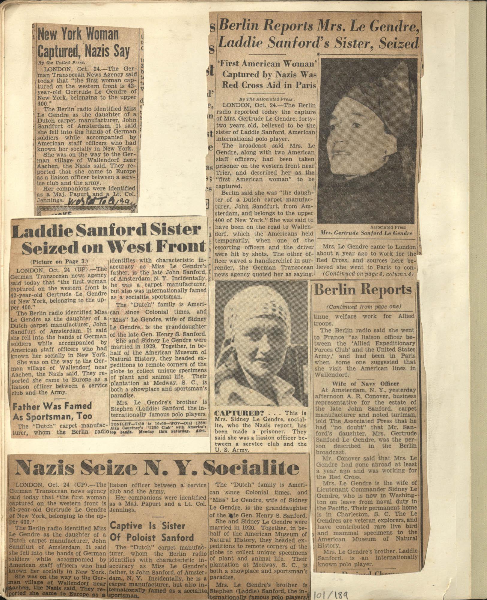 Gertrude Legendre OSS Scrapbook, 1944, Page 101