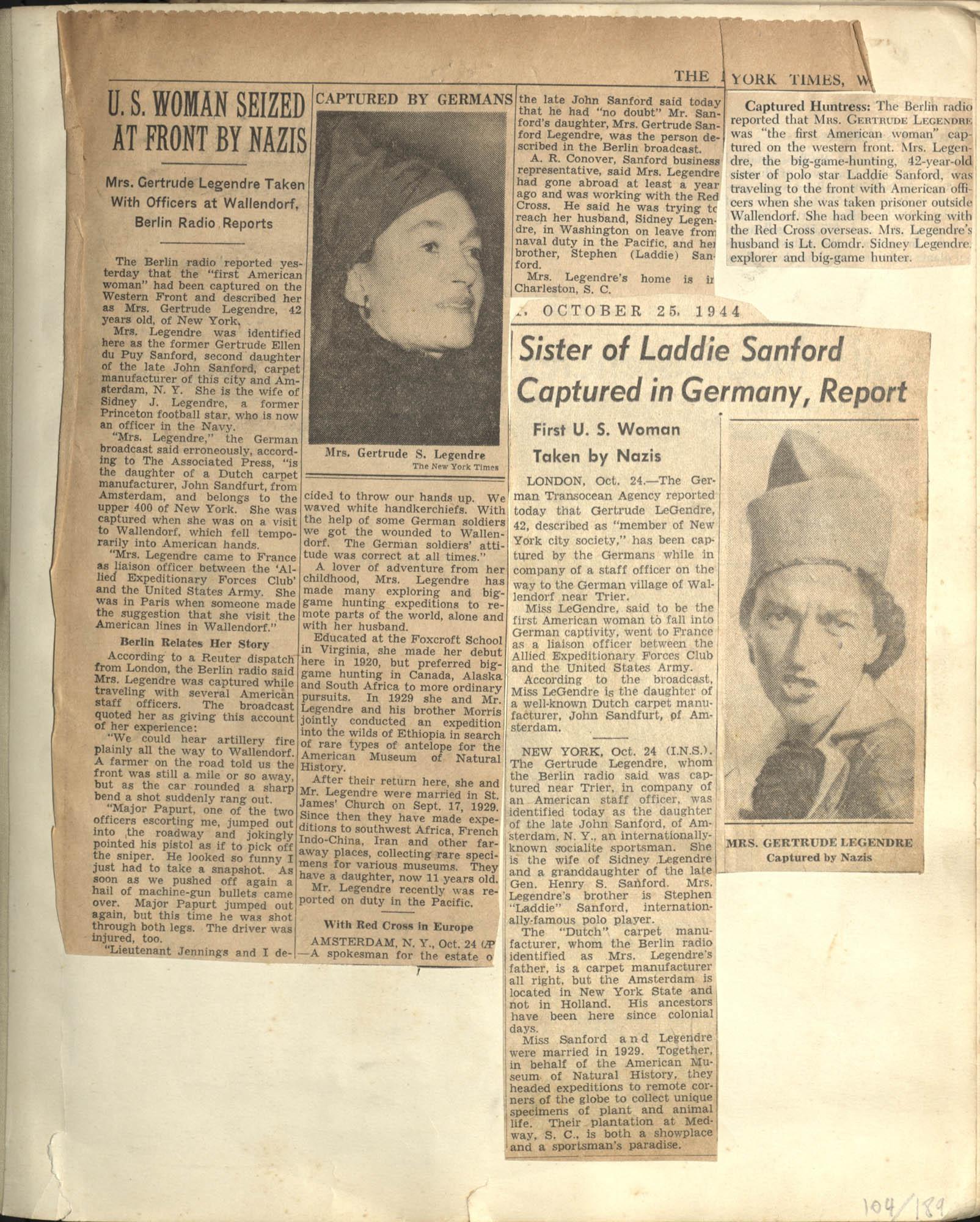 Gertrude Legendre OSS Scrapbook, 1944, Page 104