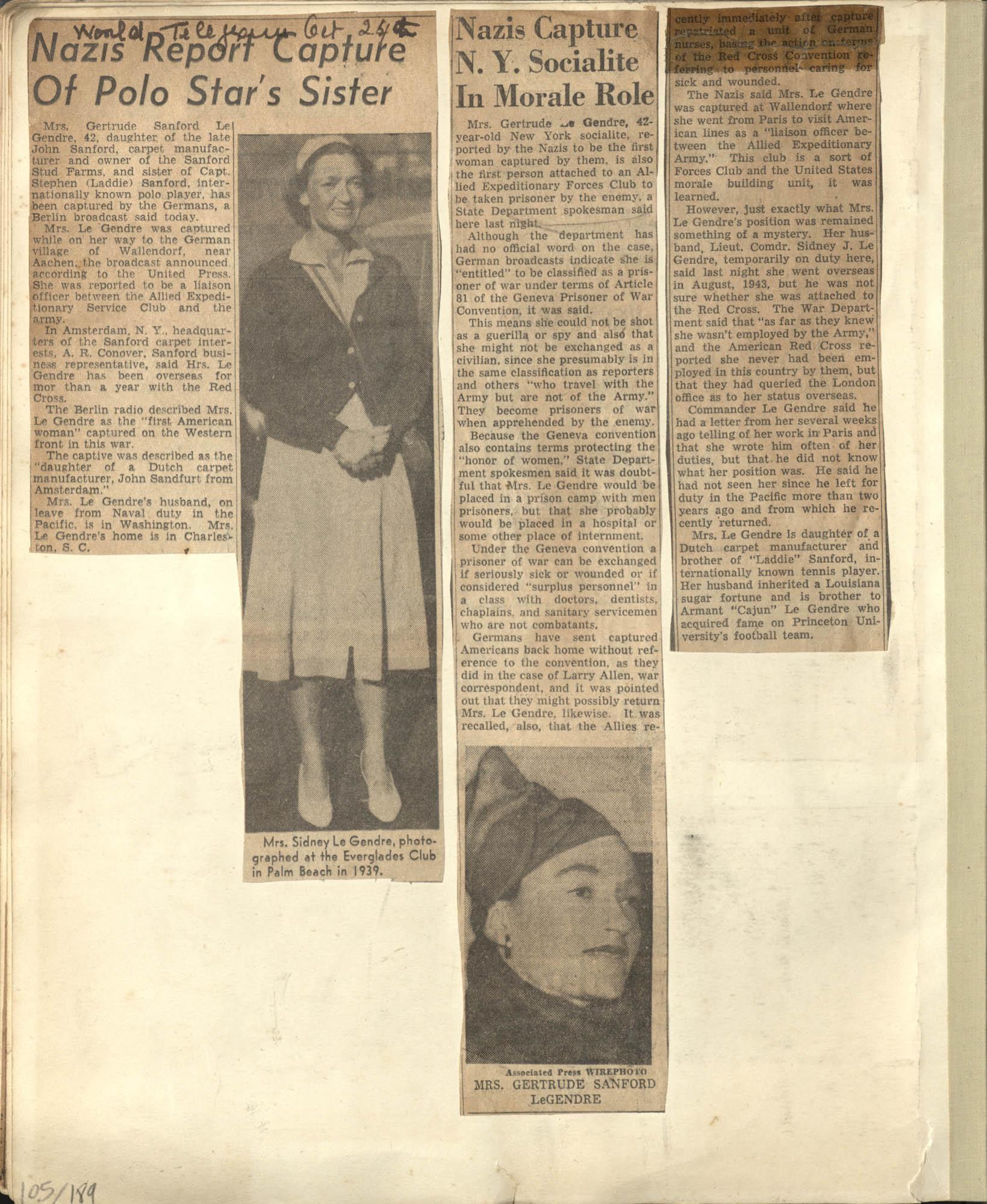 Gertrude Legendre OSS Scrapbook, 1944, Page 105