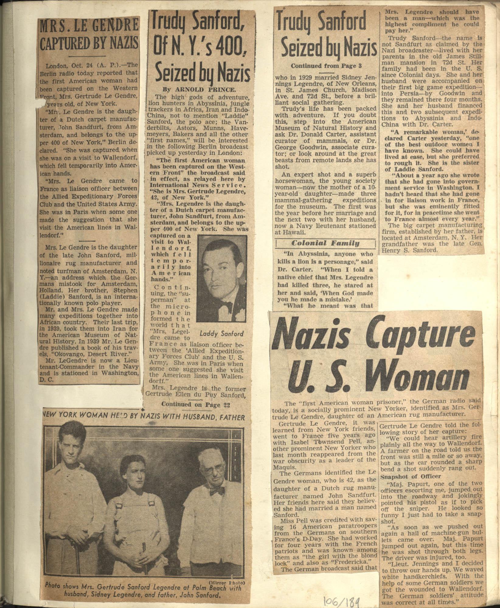 Gertrude Legendre OSS Scrapbook, 1944, Page 106