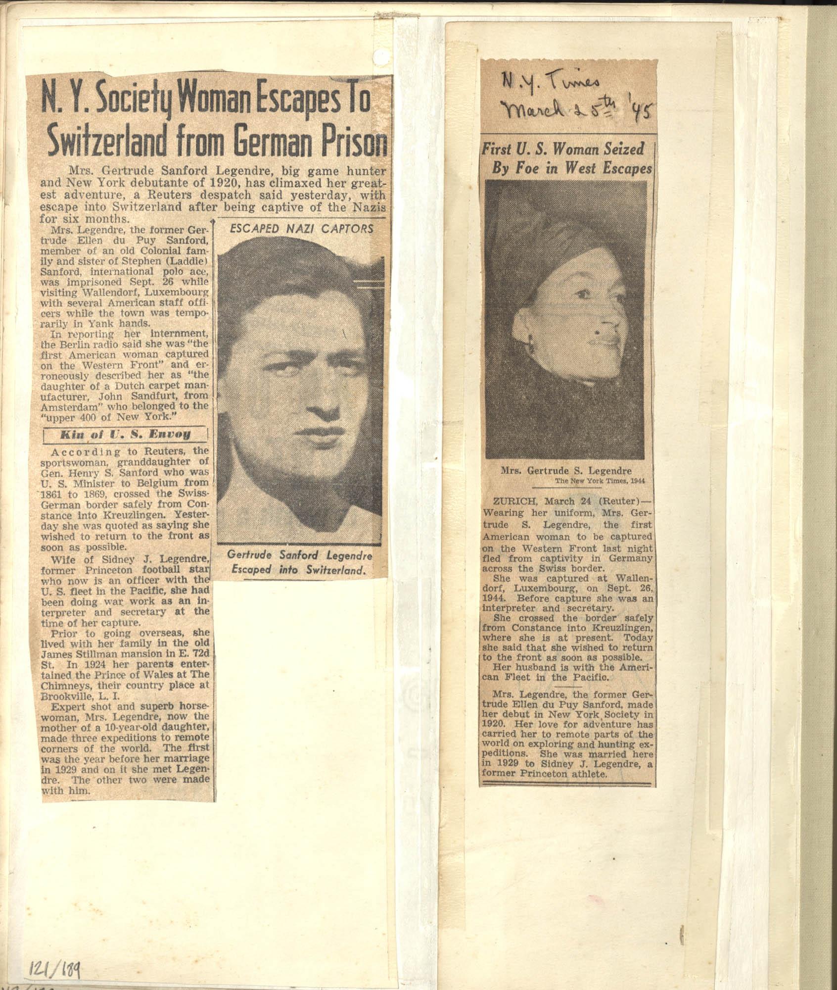 Gertrude Legendre OSS Scrapbook, 1944, Page 121