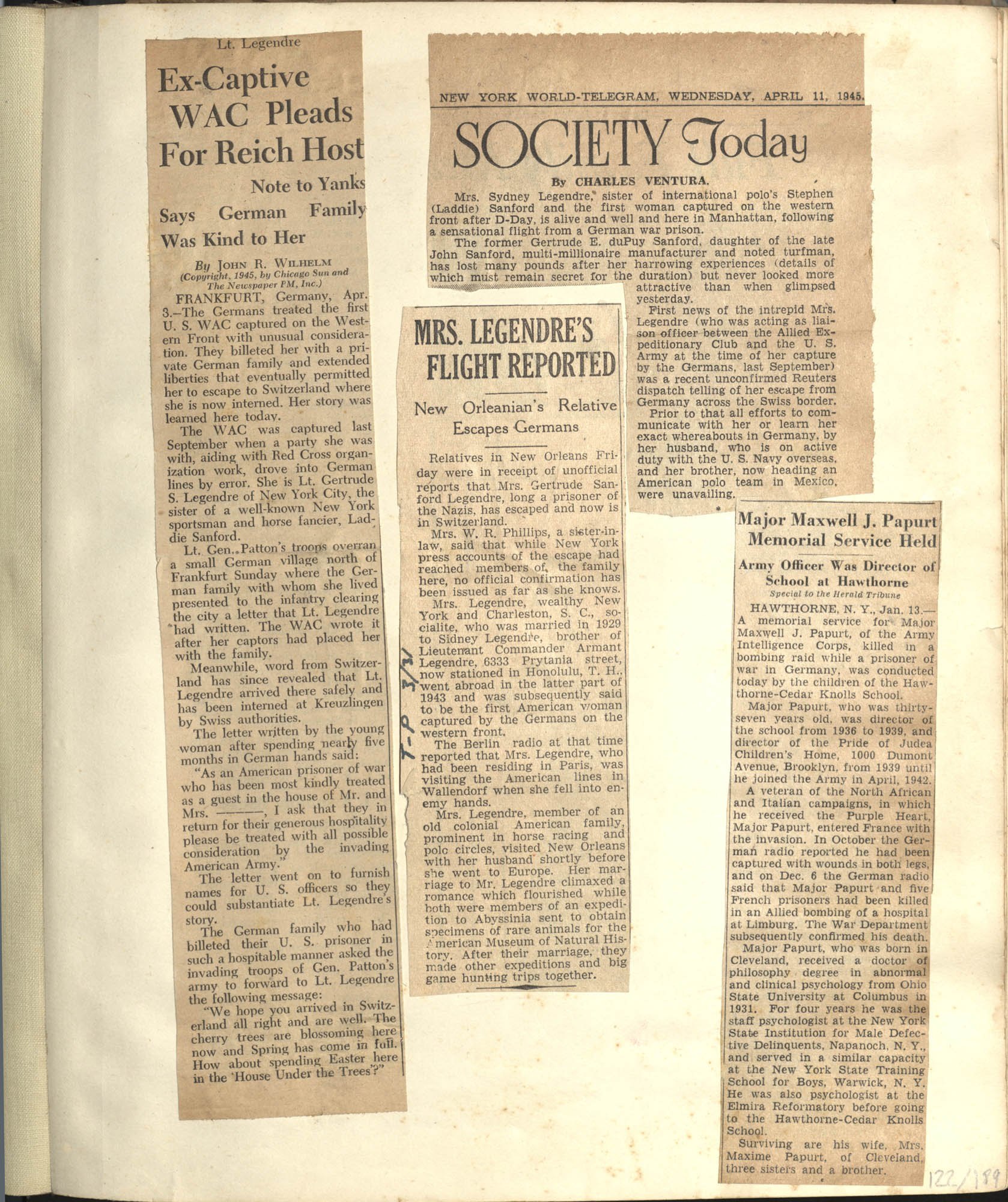 Gertrude Legendre OSS Scrapbook, 1944, Page 122