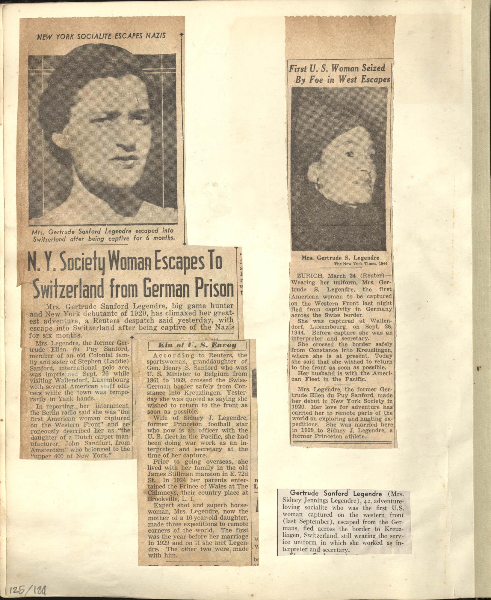 Gertrude Legendre OSS Scrapbook, 1944, Page 125