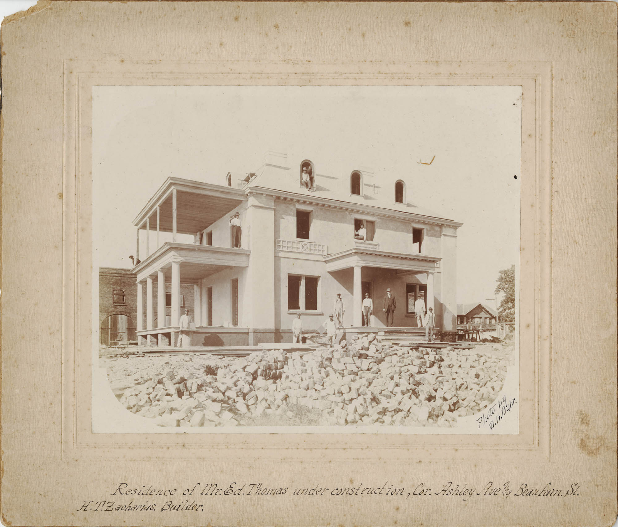 Residence of Mr. Ed Thomas Under Construction / photo by D.H. Bahr