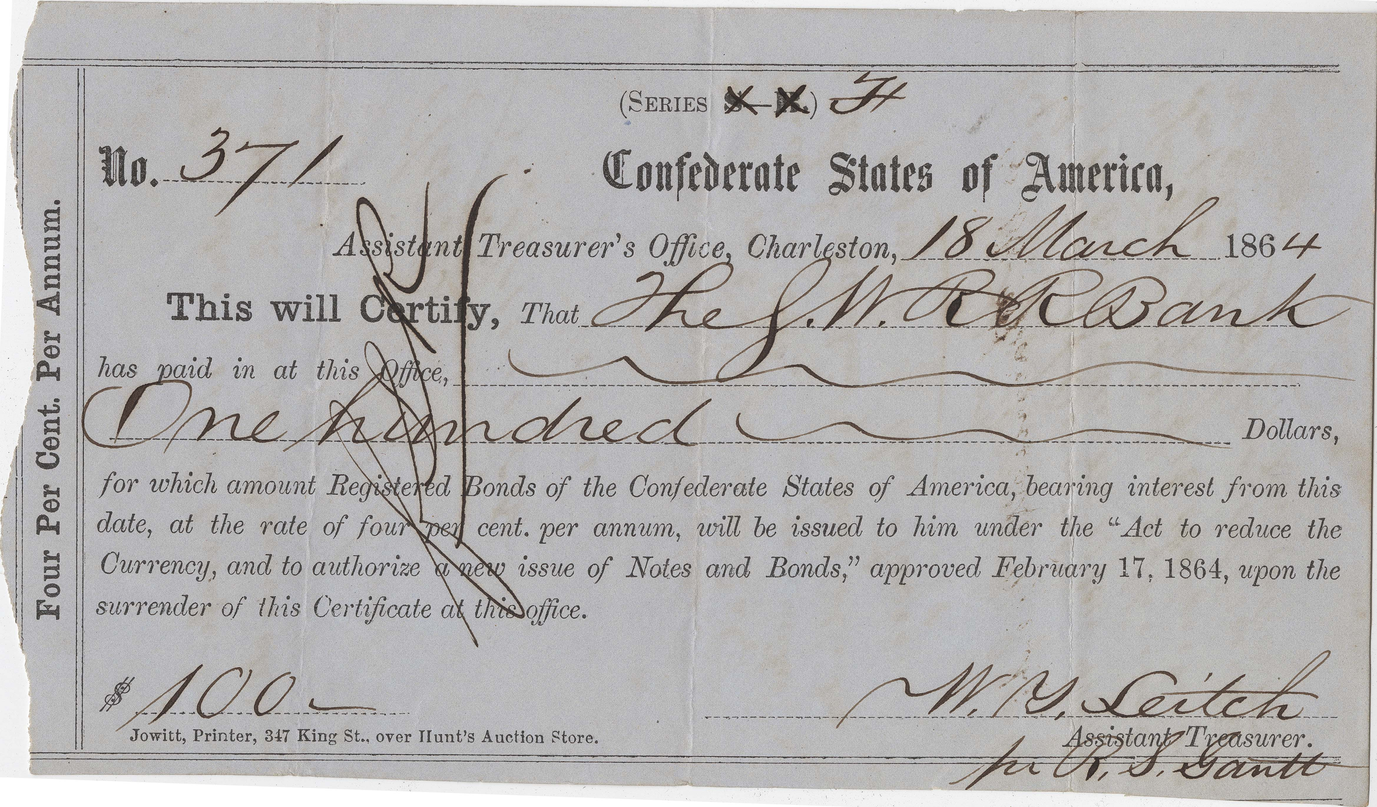 Confederate Check 2, front