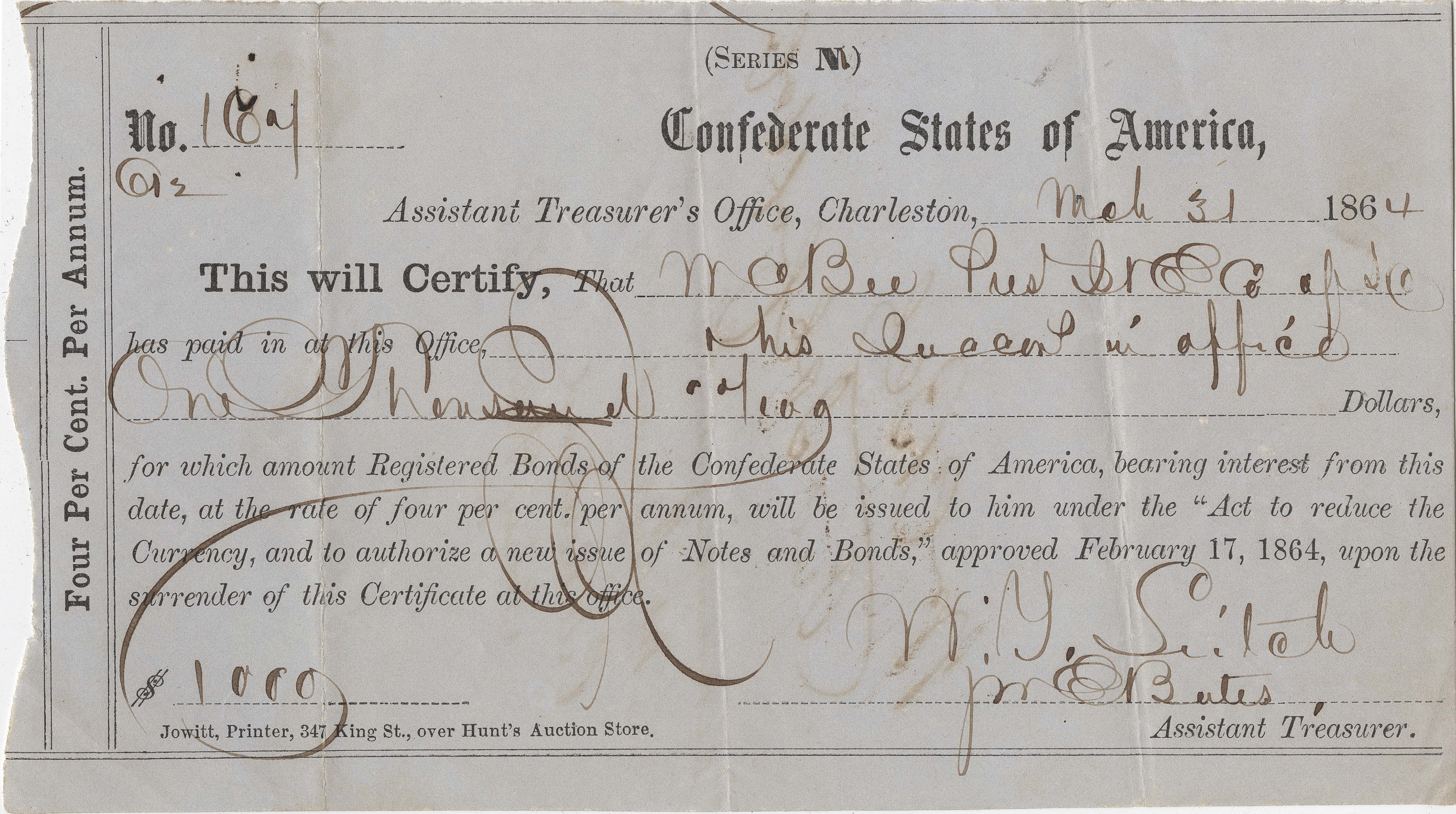 Confederate Check 3, front