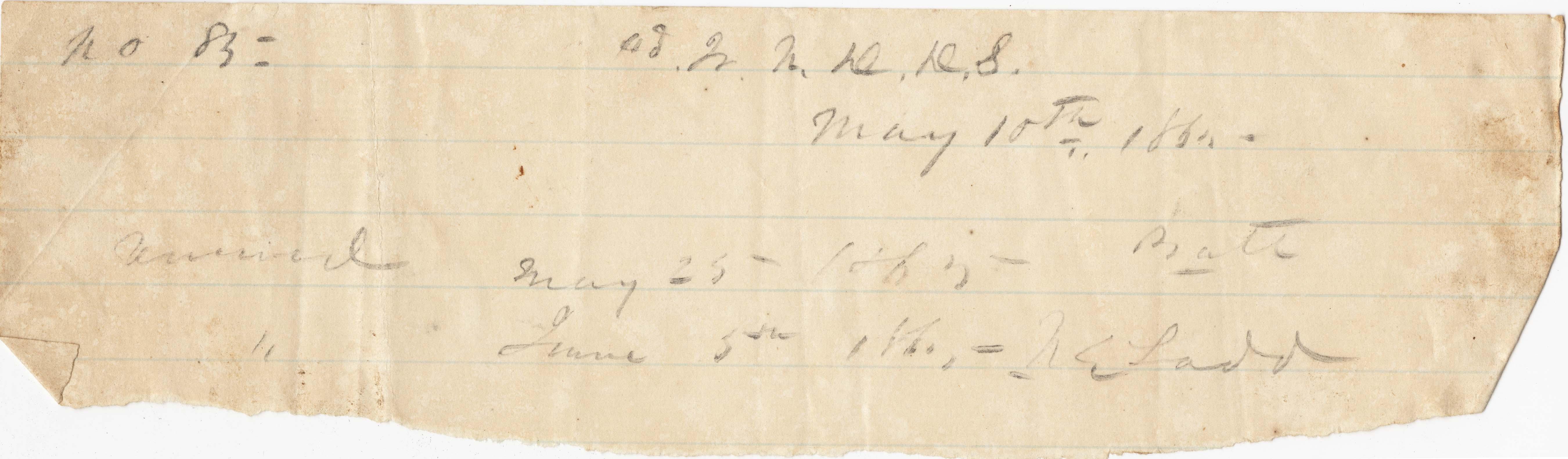 Receipt mark No. 85 -- May 10, 1865
