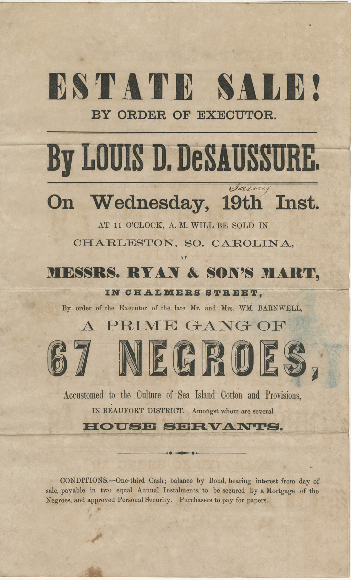 Louis D. DeSaussure slave sale broadside, Page 1
