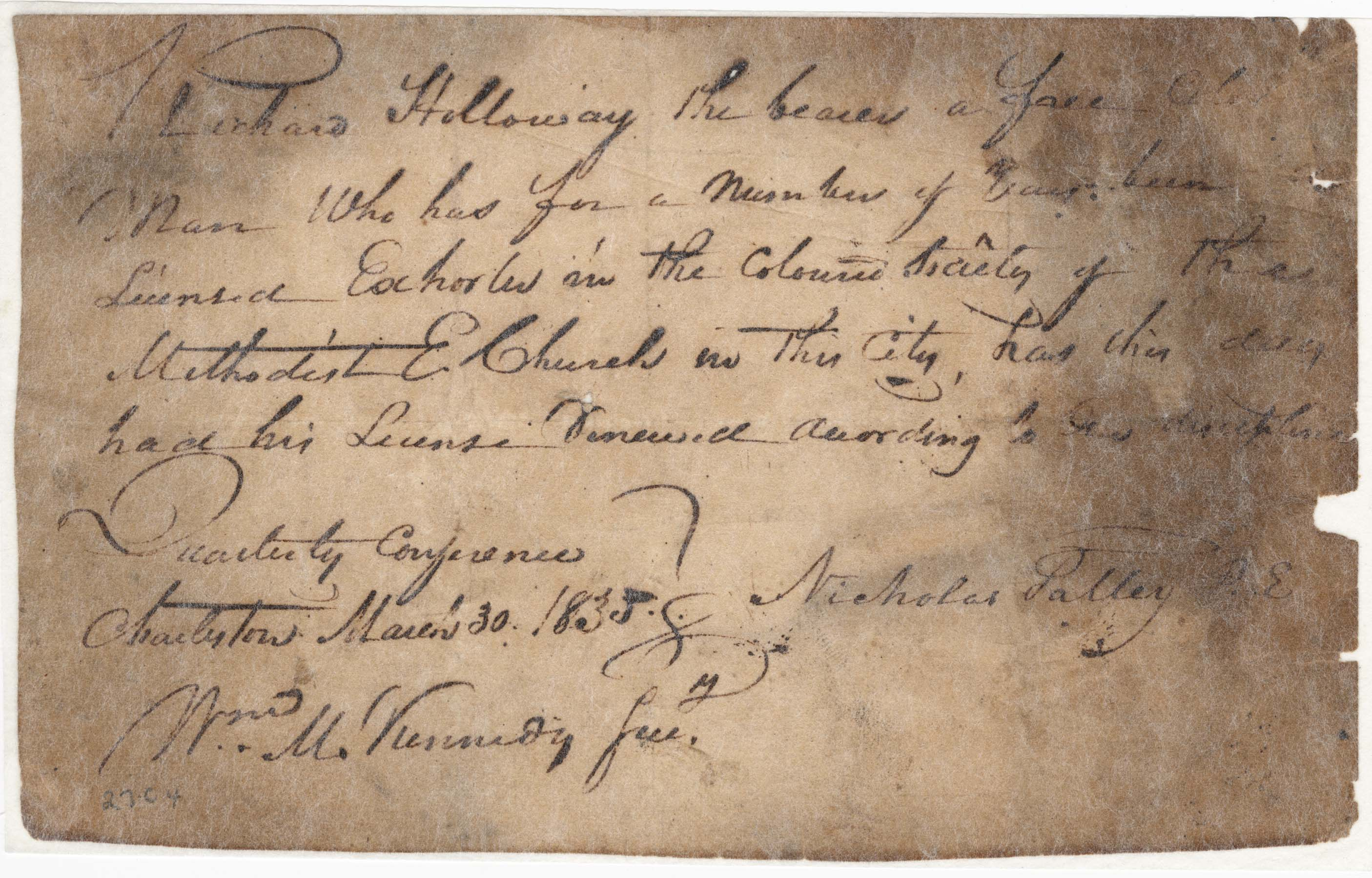Exhorter license renewal letter (1835)