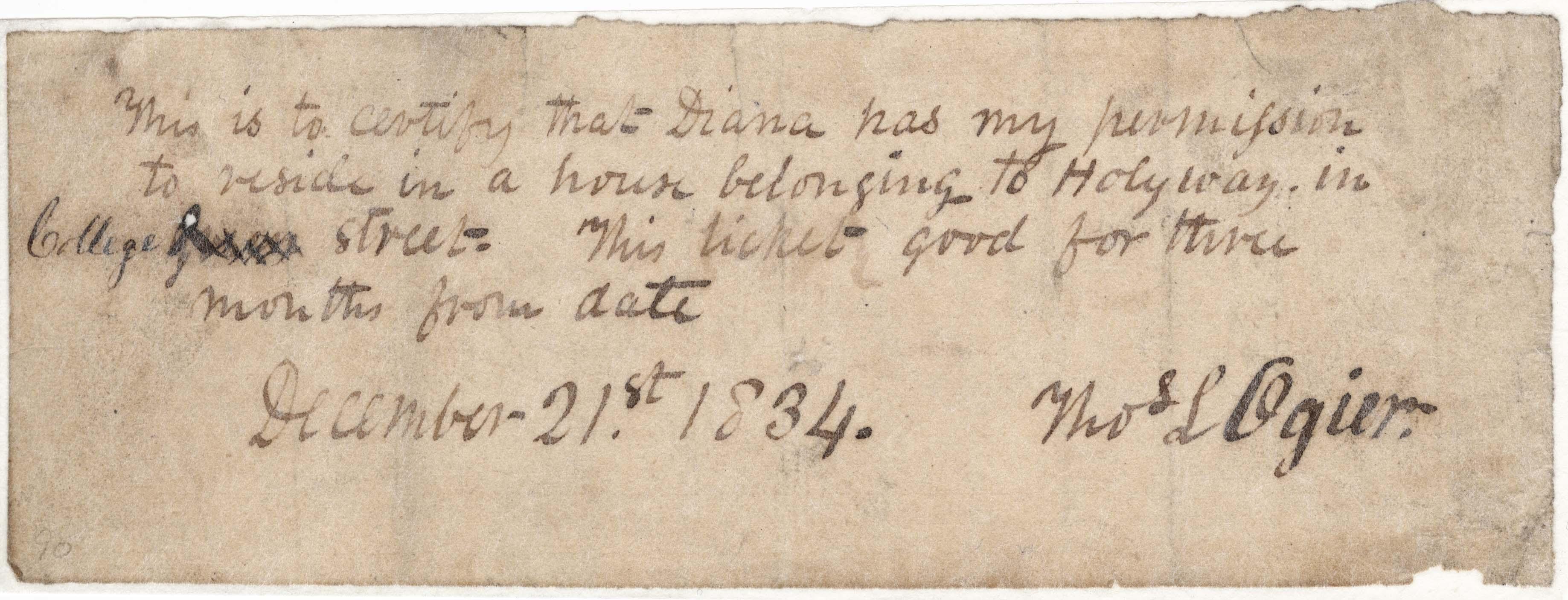 Permission note (1834)