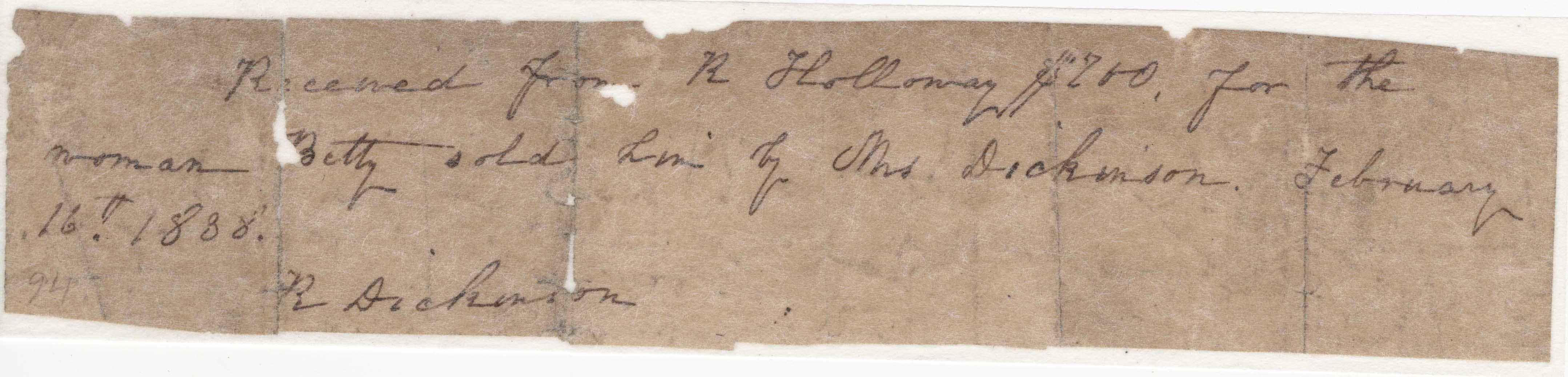 Receipt (1838) for slave