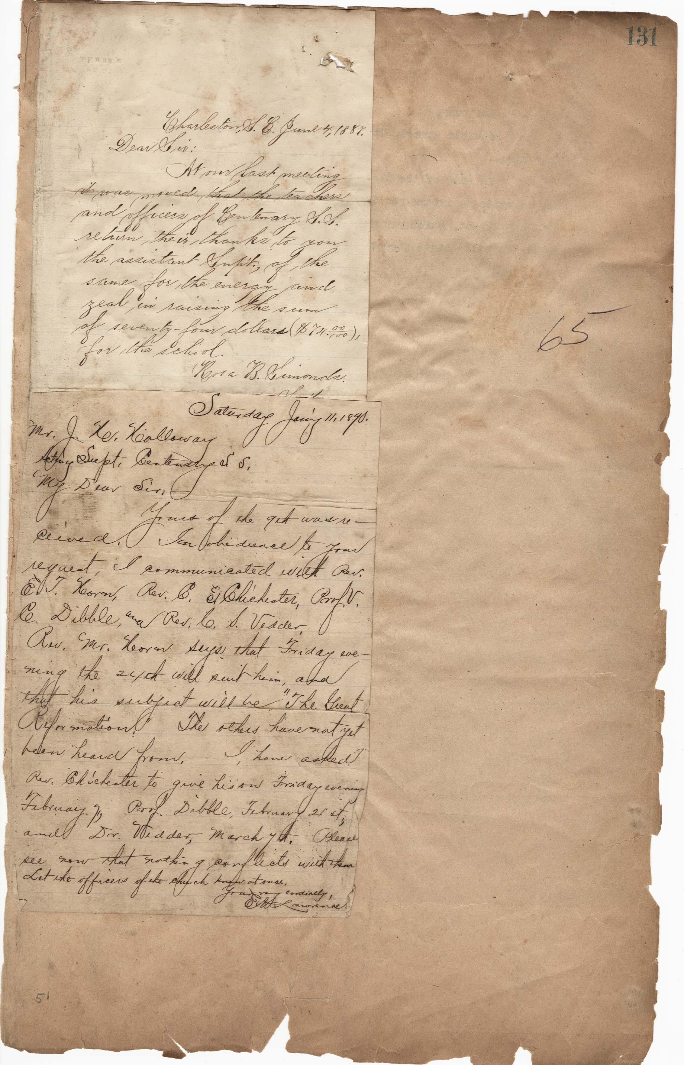 Rosa Simonds, Centenary Sunday School letters to James H. Holloway