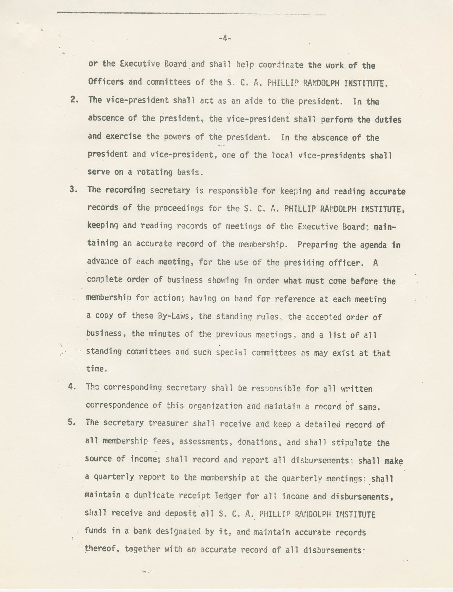 Page four of South Carolina A. Phillip Randolph Institute Constitution