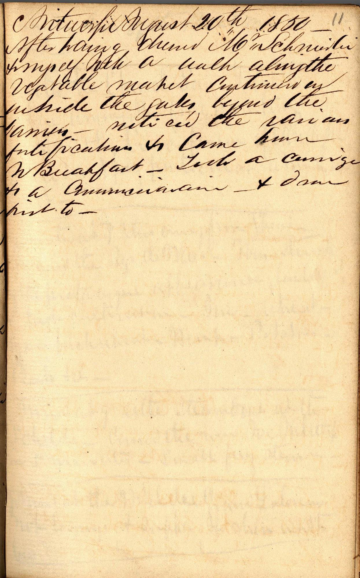 David Henry Mordecai Travel Diary (1850), Page 11