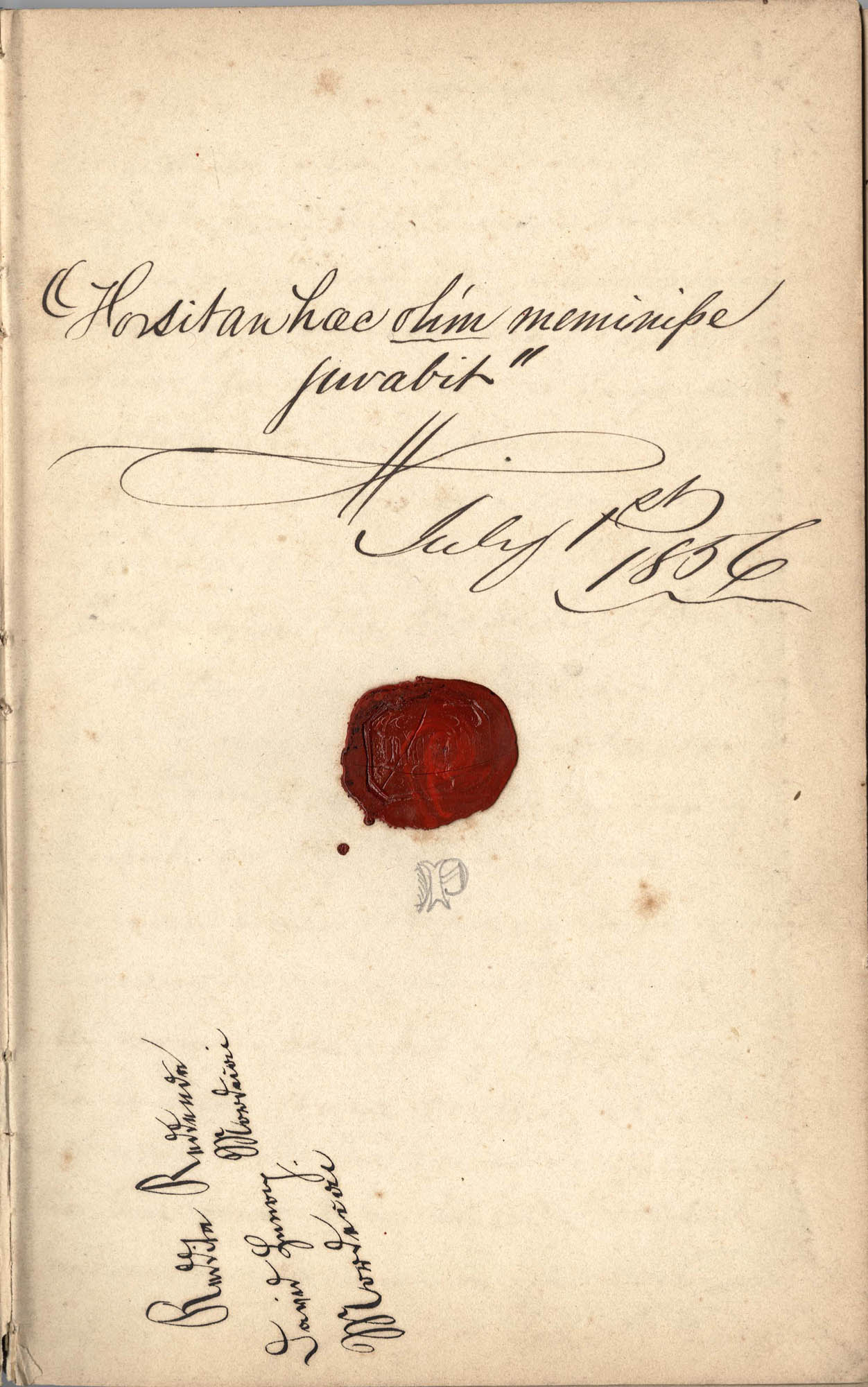 David Henry Mordecai Travel Diary (1856-57), Title Page