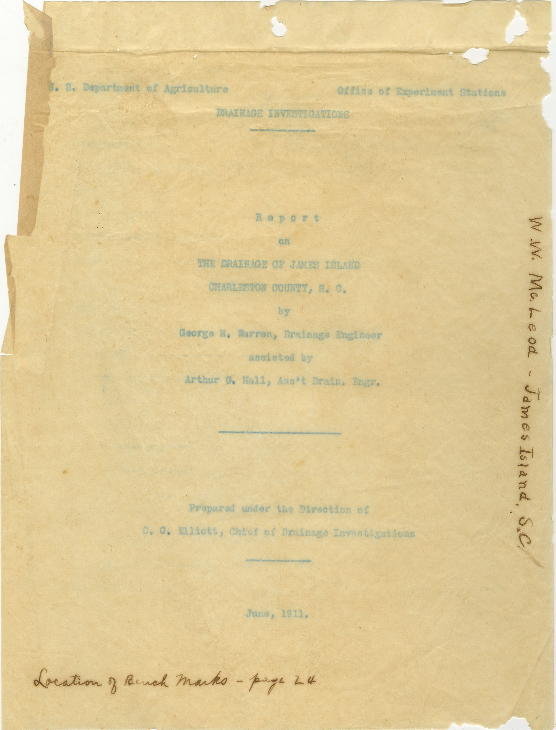 Drainage Report, Front Cover