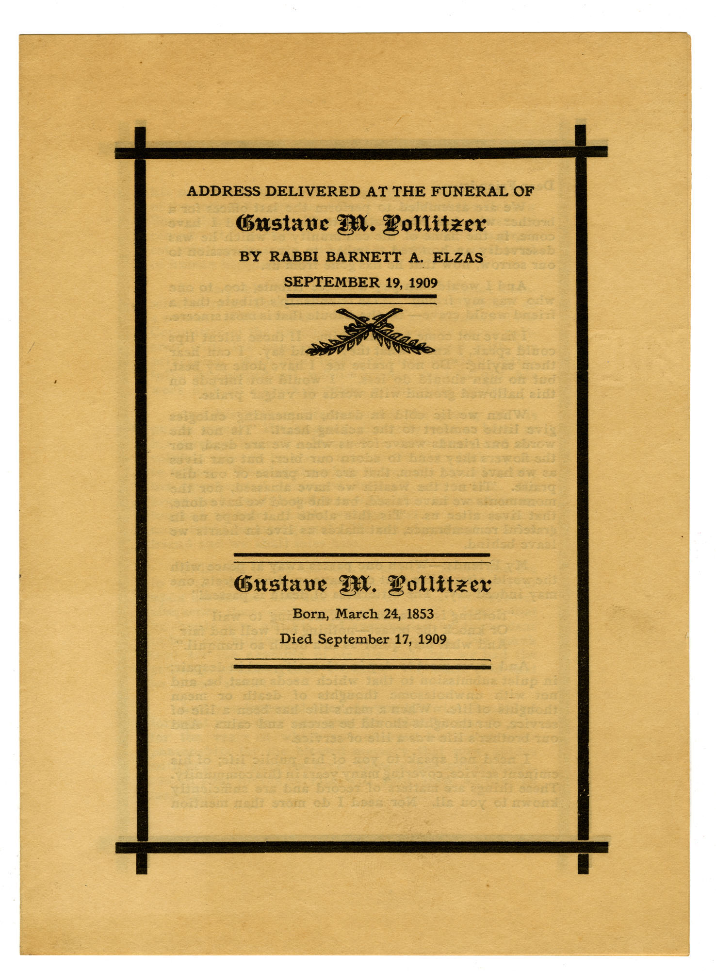 Funeral program for Gustave M. Pollitzer, page1