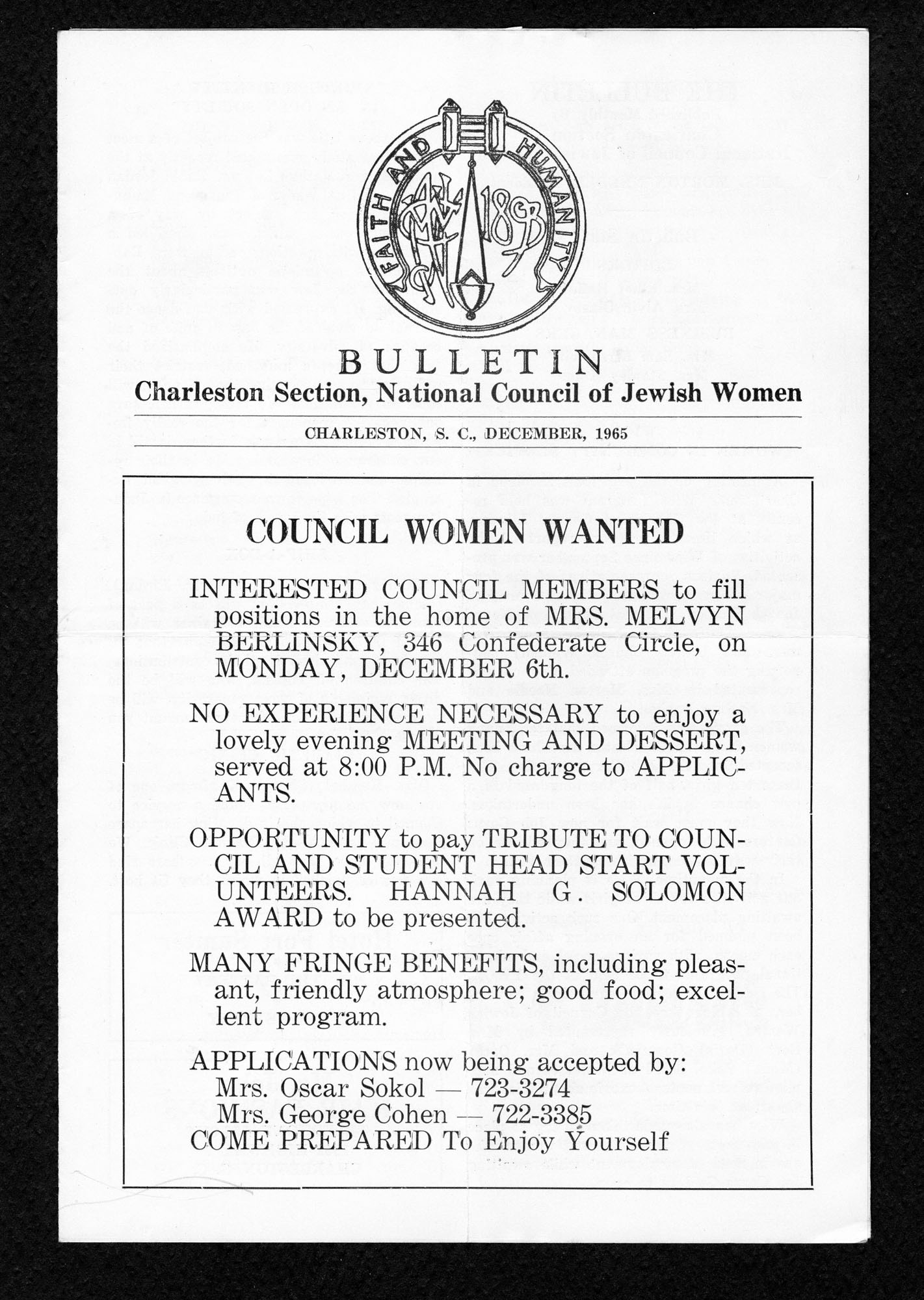 Bulletin from the Charleston section of the National Council of Jewish Women, page 1