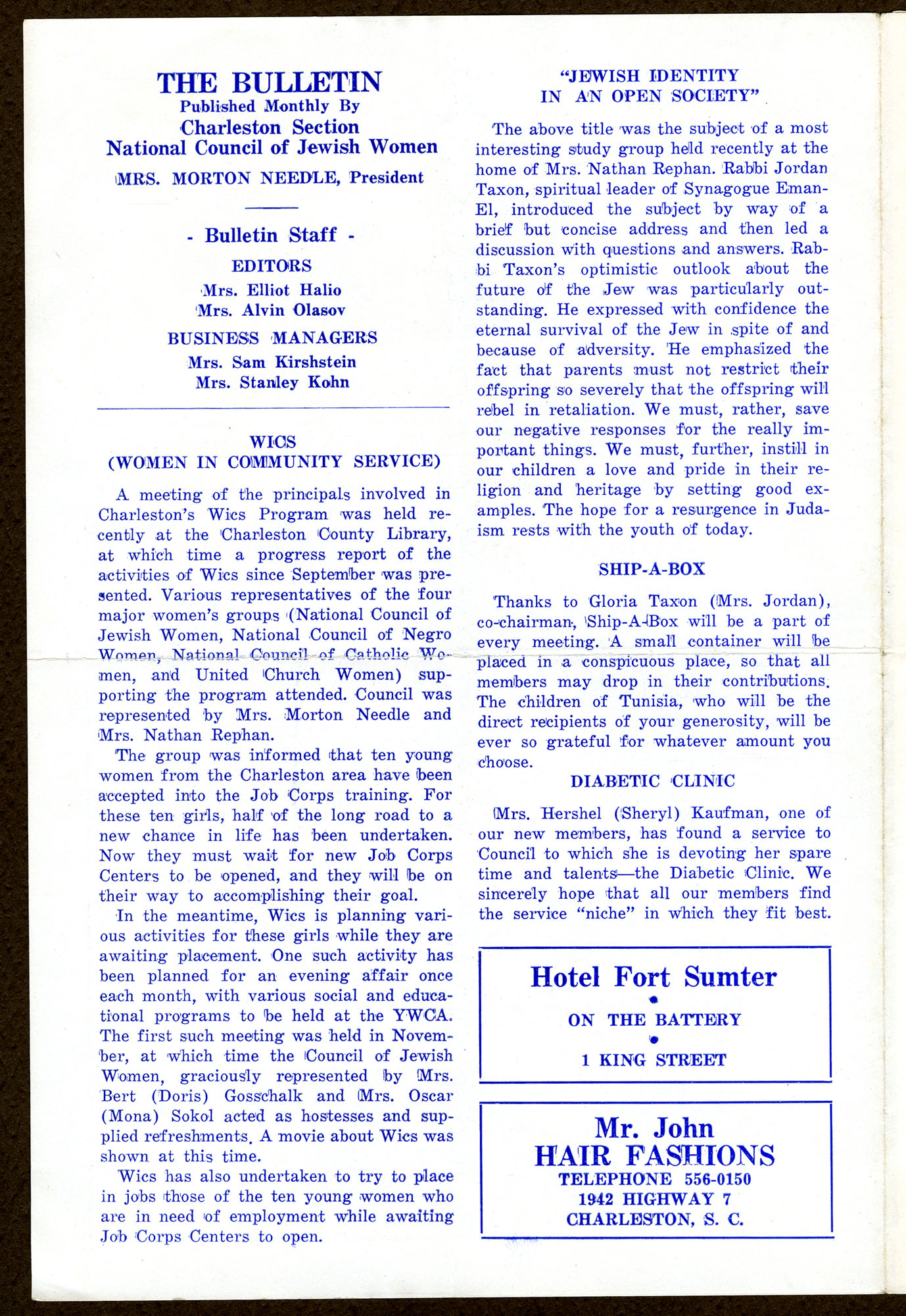 Bulletin from the Charleston section of the National Council of Jewish Women, page 2