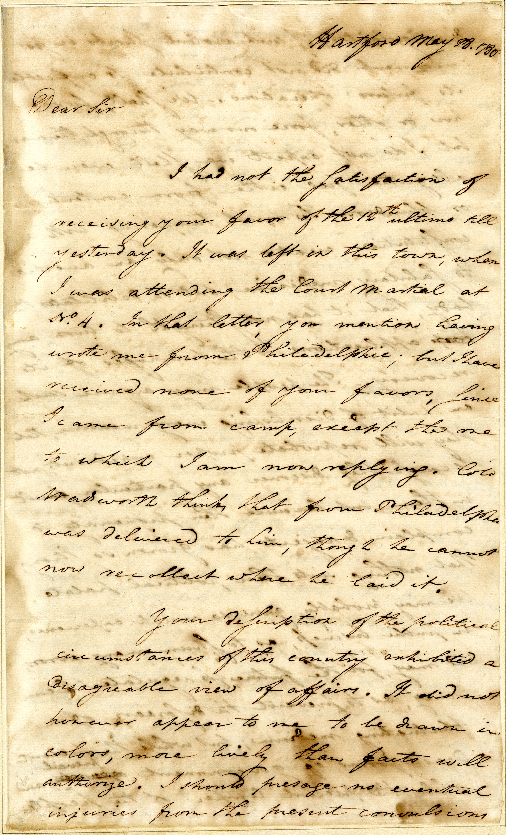 Letter from Royal Flint to Nathanael Greene, Page 1