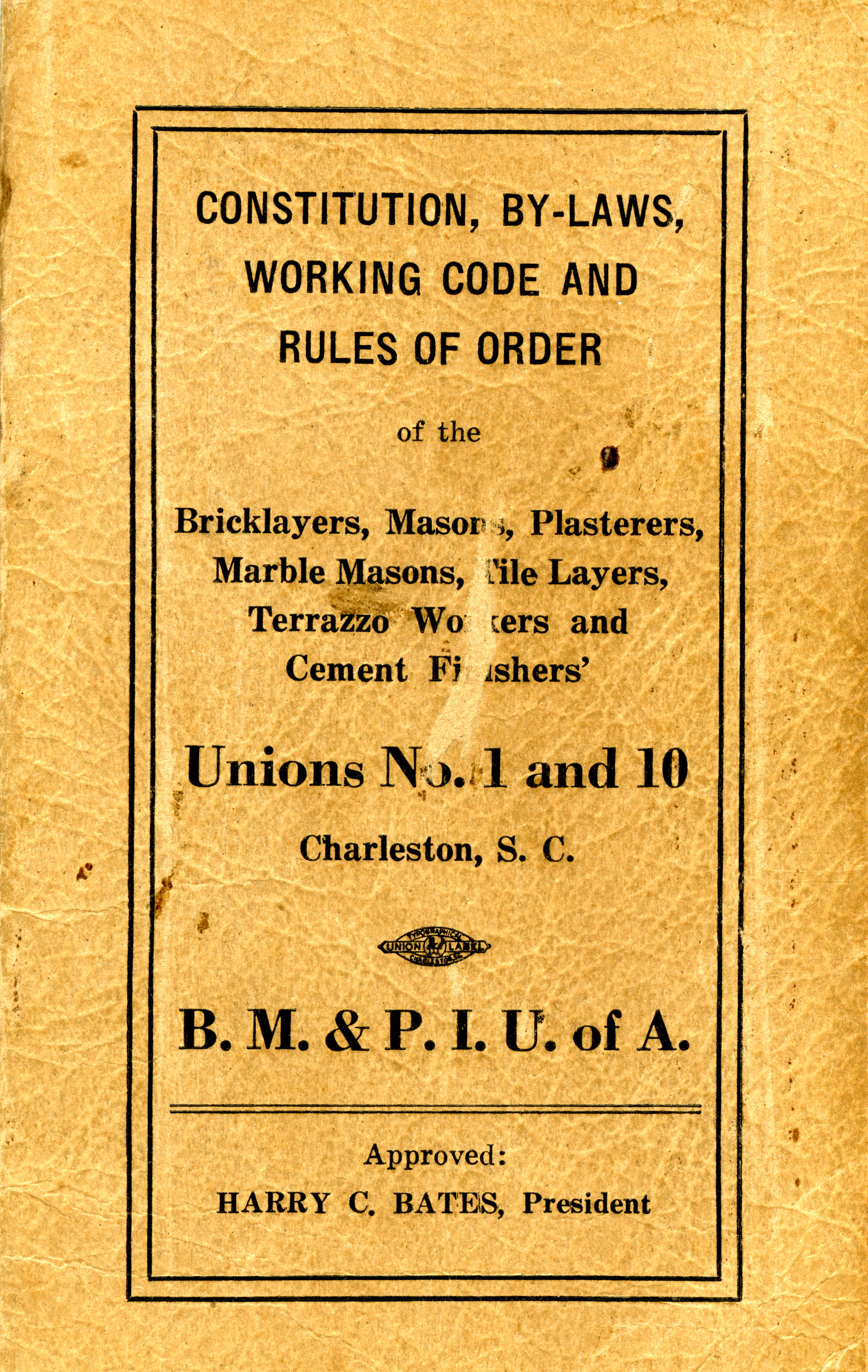 Constitution, by-laws, working code and rules of order, Cover