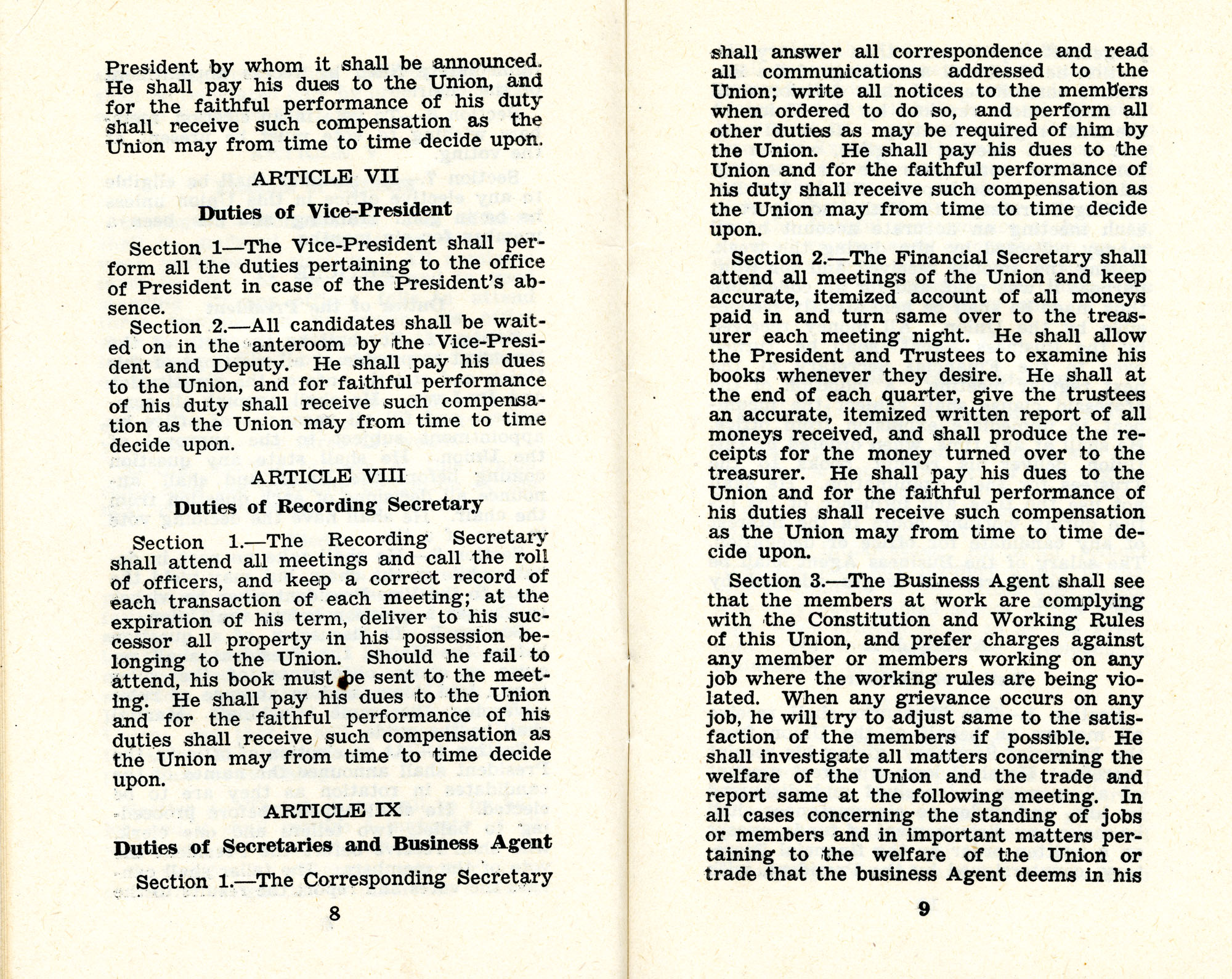 Constitution and by-laws of unions no.1 and 10, Page 5