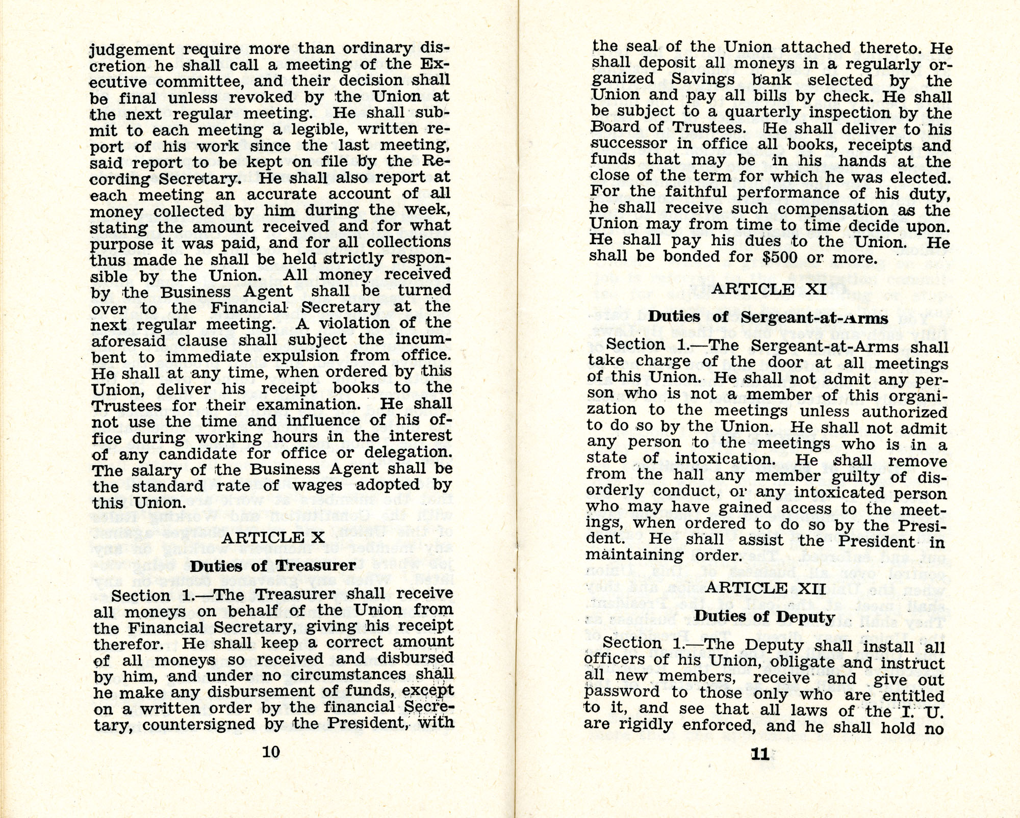 Constitution and by-laws of unions no.1 and 10, Page 6