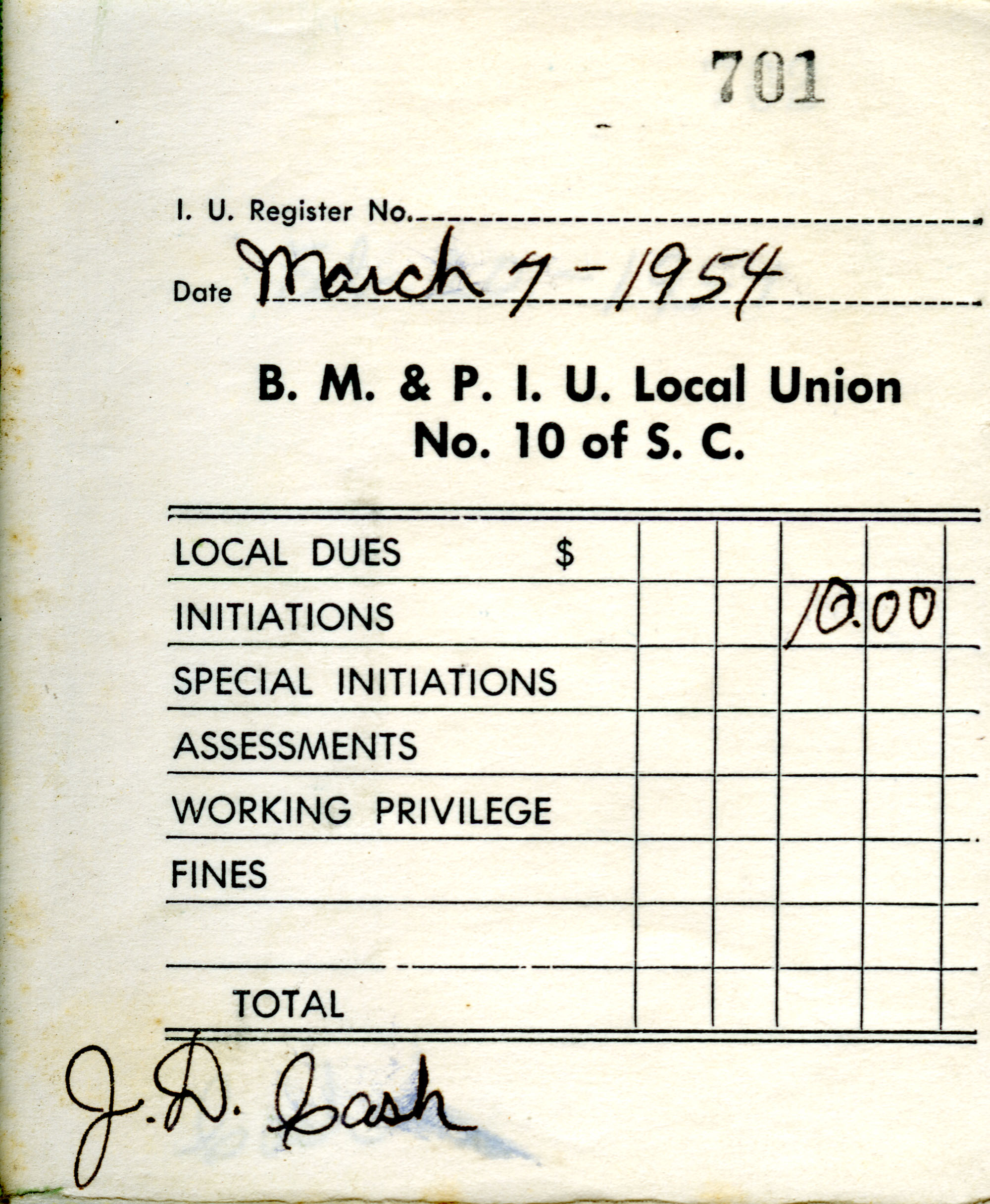 Receipt Book 5, Page 1