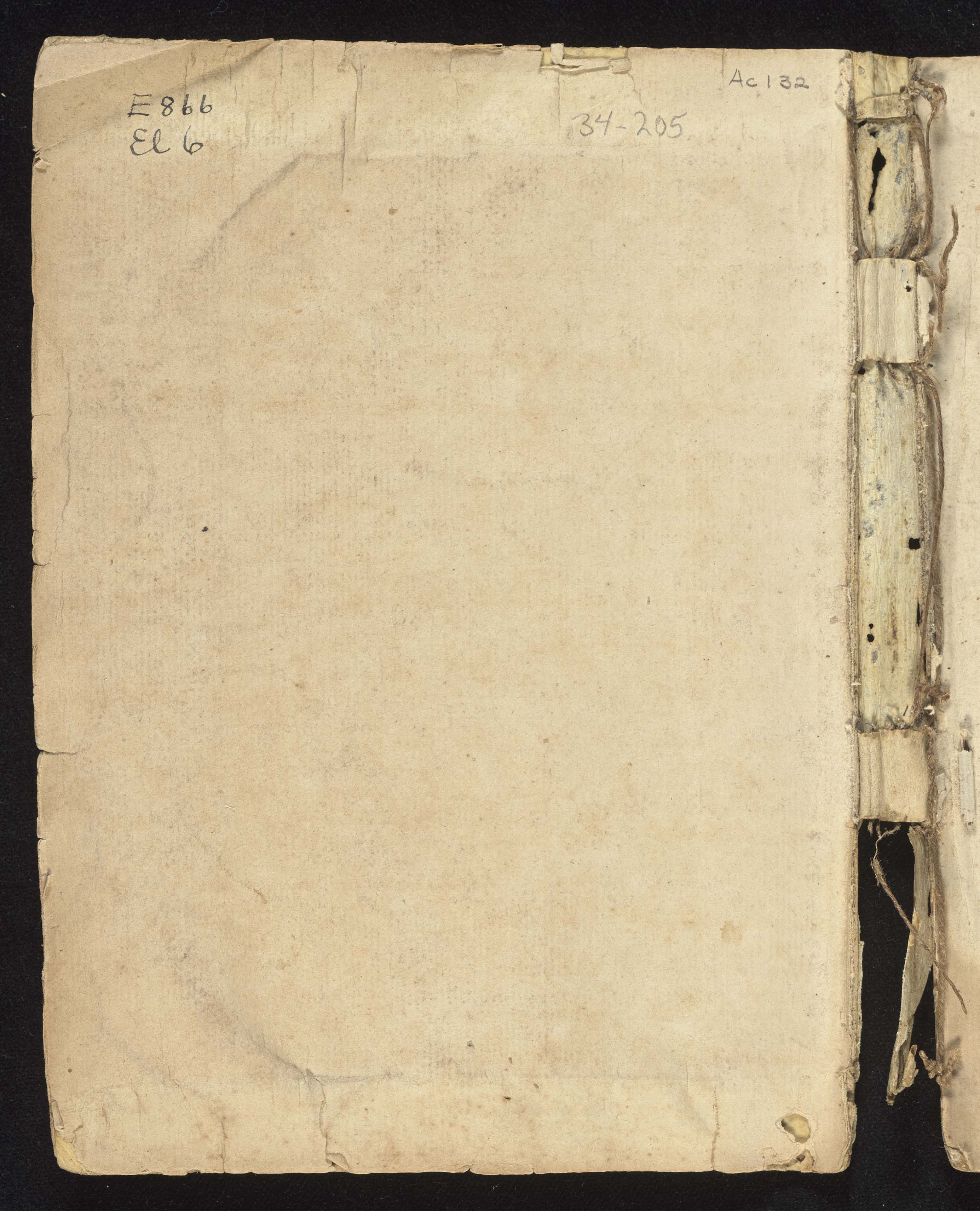 4th South Carolina Regiment Order Book, Inner Cover