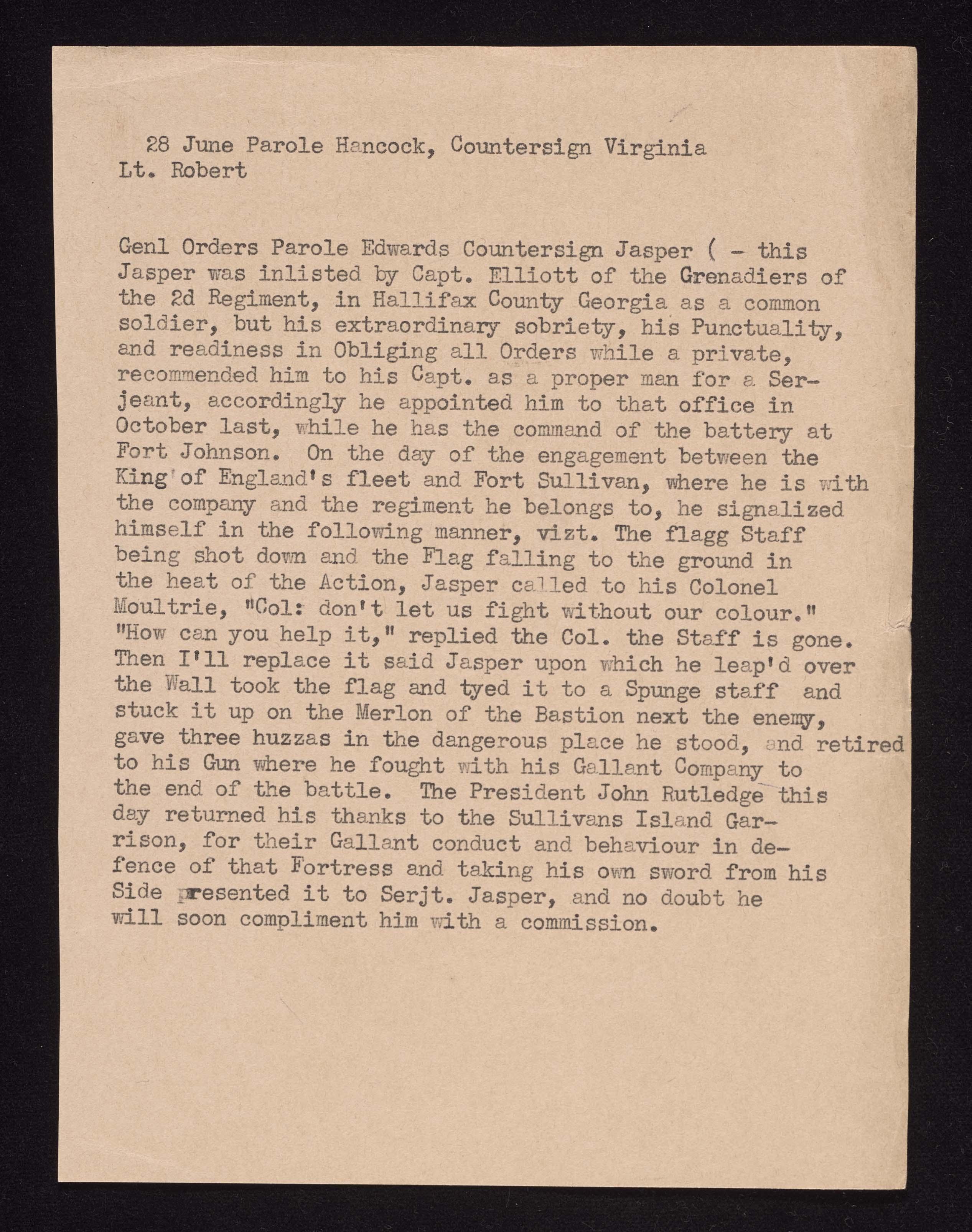 4th South Carolina Regiment Order Book, Insert