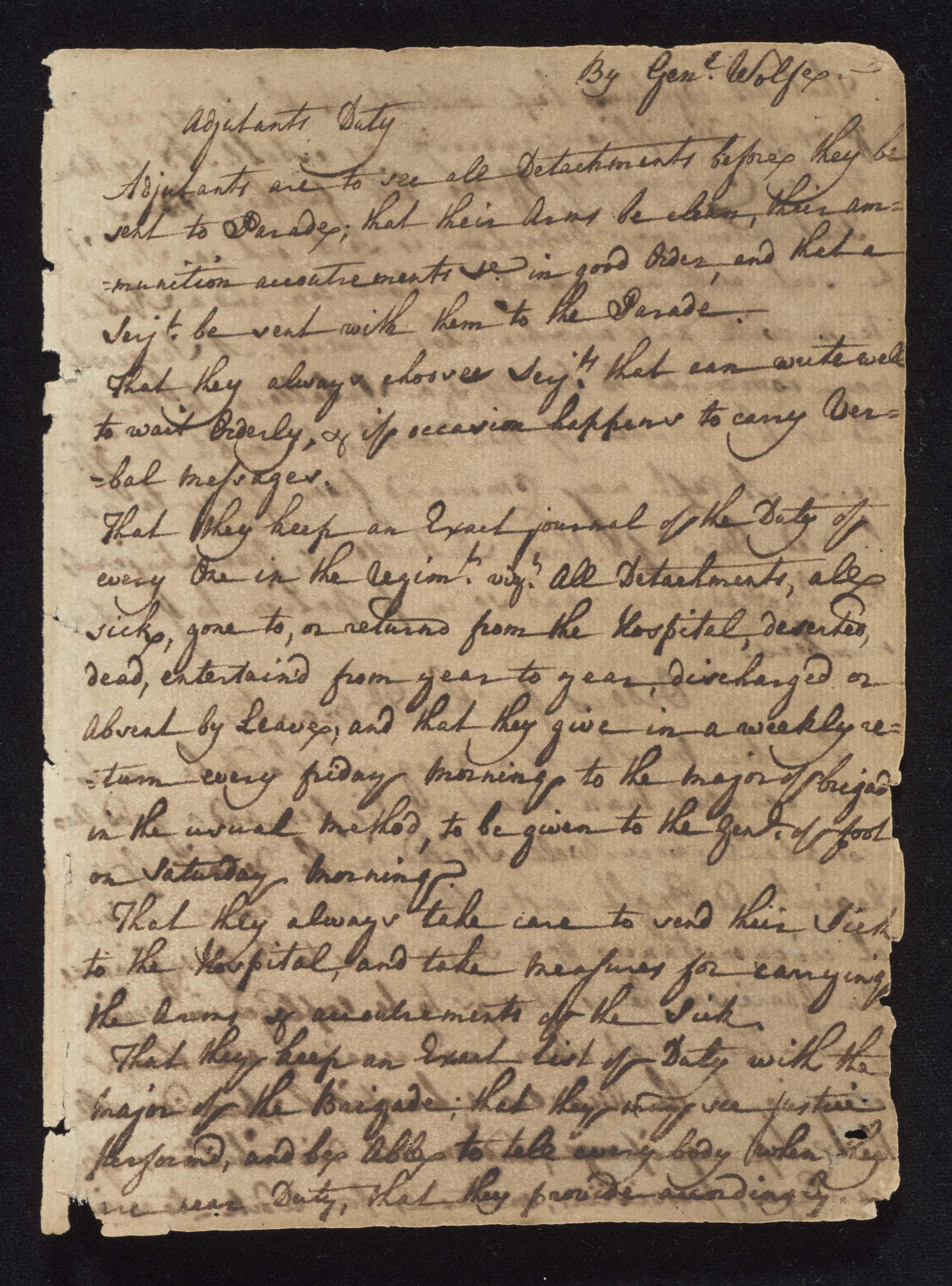 South Carolina Regiment Order Book, Page 1