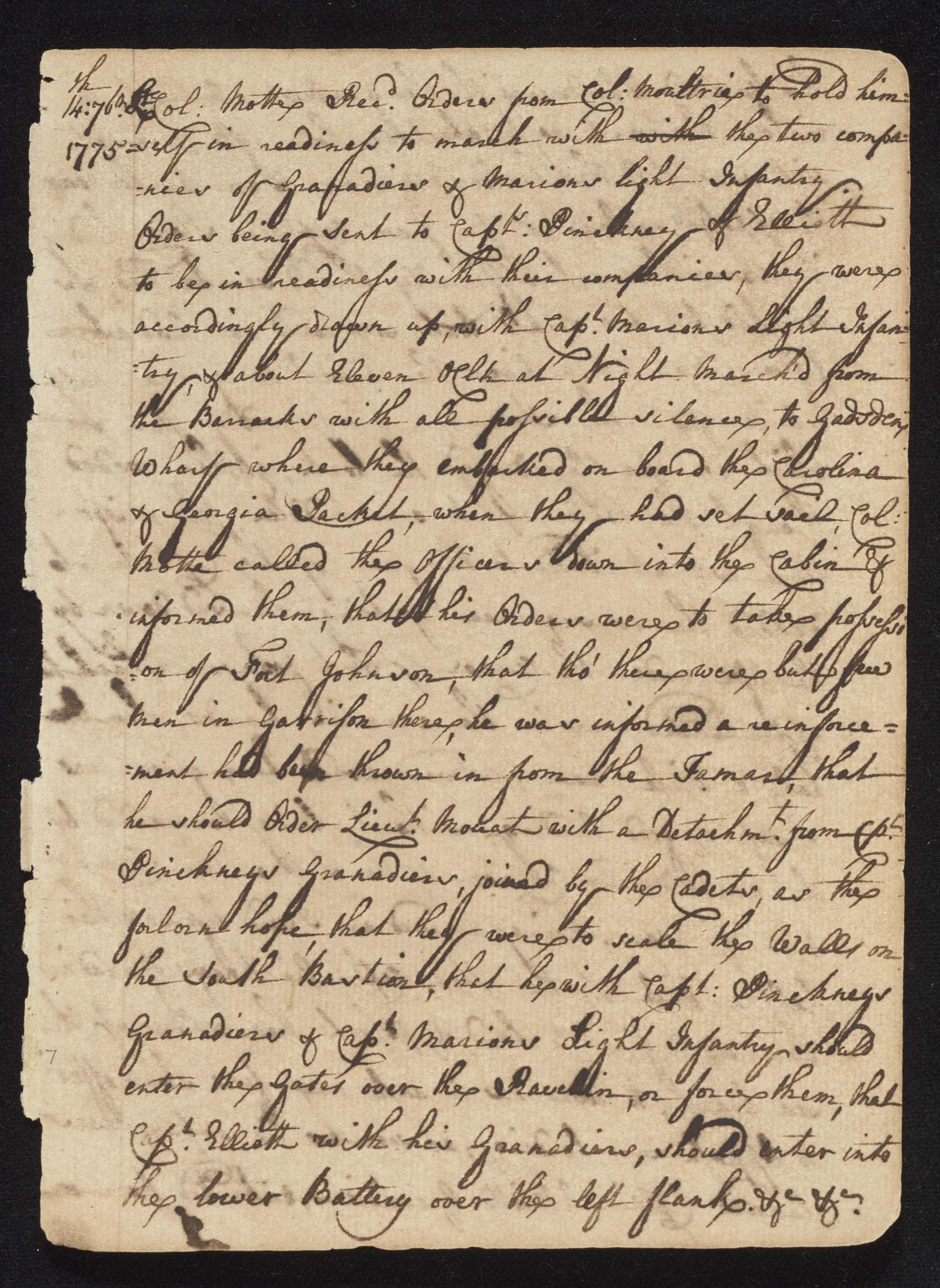 South Carolina Regiment Order Book, Page 13